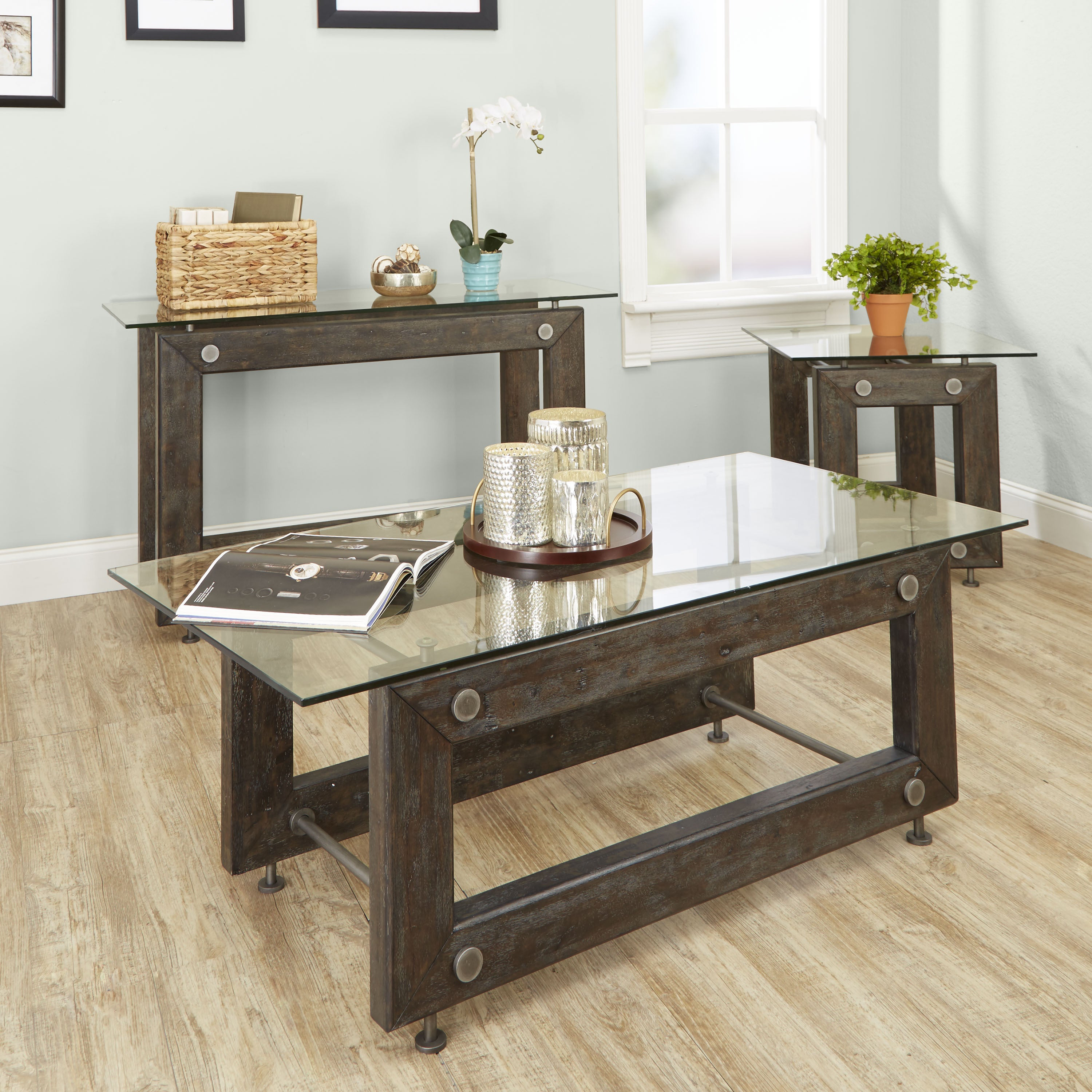 Shop Knox Industrial Collection Console Table By Silverwood   Free Shipping  Today   Overstock.com   13849571