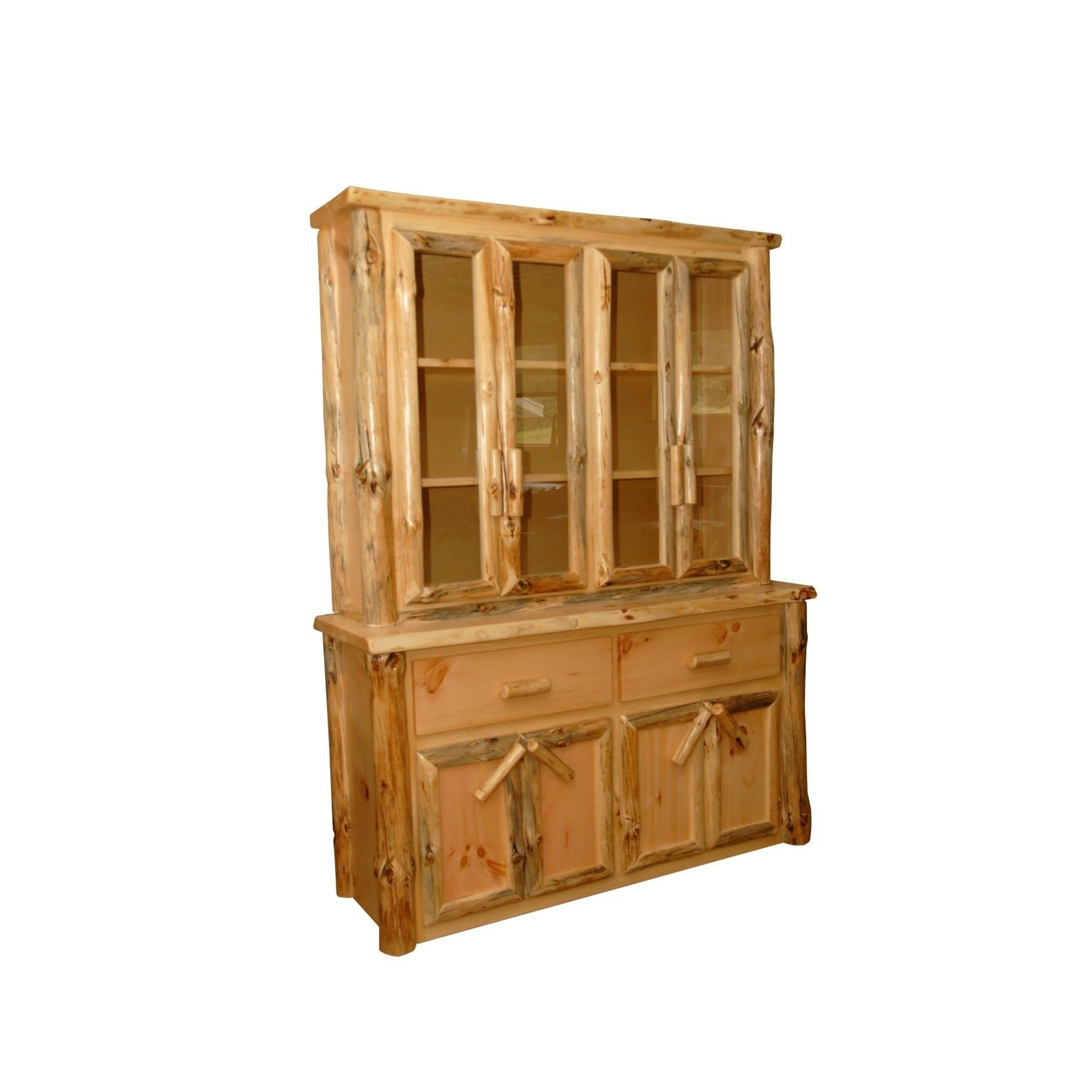 Shop rustic pine log buffet and hutch china cabinet free shipping today overstock com 13849582
