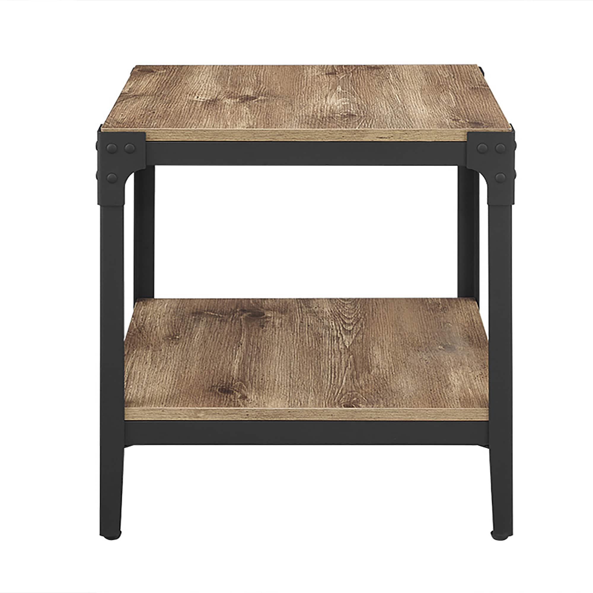 Rustic Angle Iron Barnwood End Tables Set of 2 Free Shipping