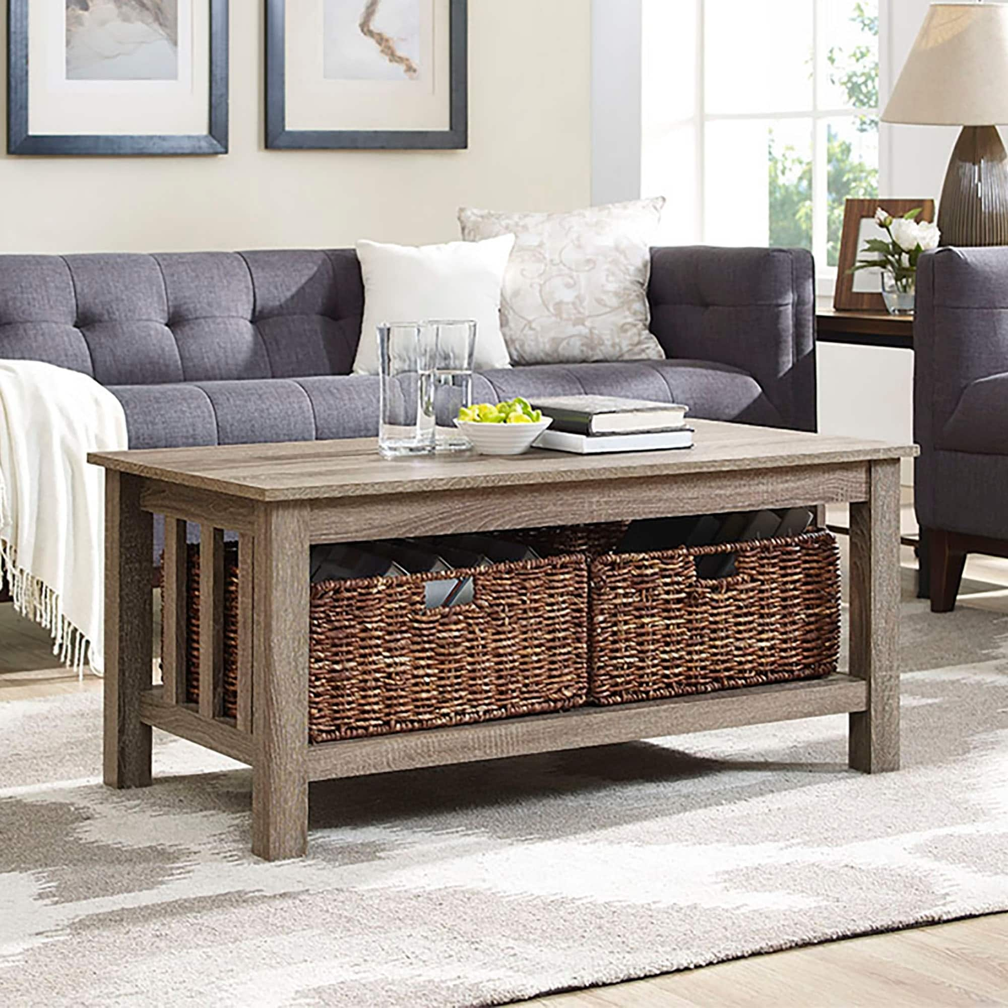 Middlebrook Designs 40-inch Coffee Table with Wicker Storage Baskets,  Driftwood, Rustic Living Room Table