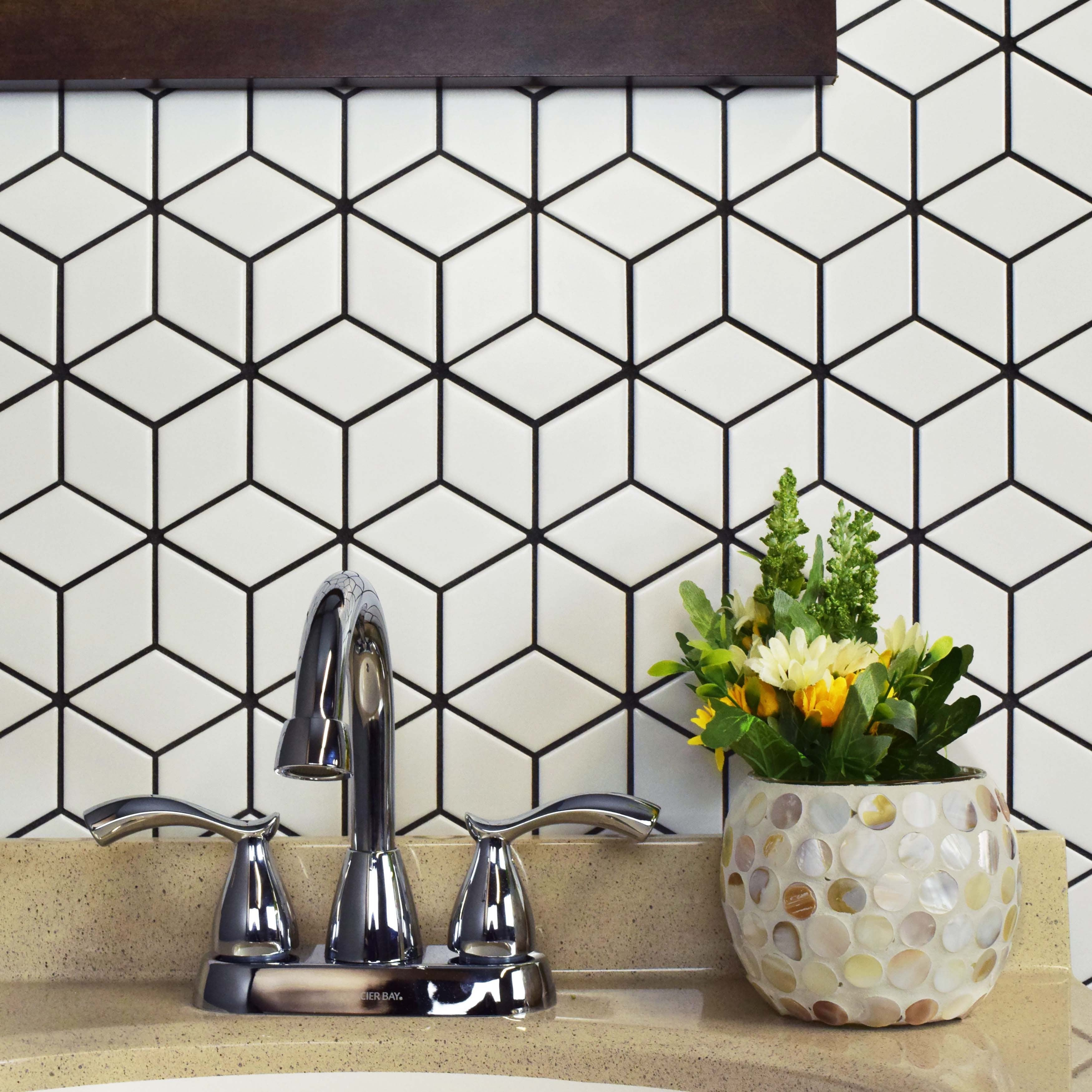 Somertile 105x12125 inch victorian rhombus matte white porcelain somertile 105x12125 inch victorian rhombus matte white porcelain mosaic floor and wall tile 10ca free shipping today overstock 20493683 dailygadgetfo Gallery