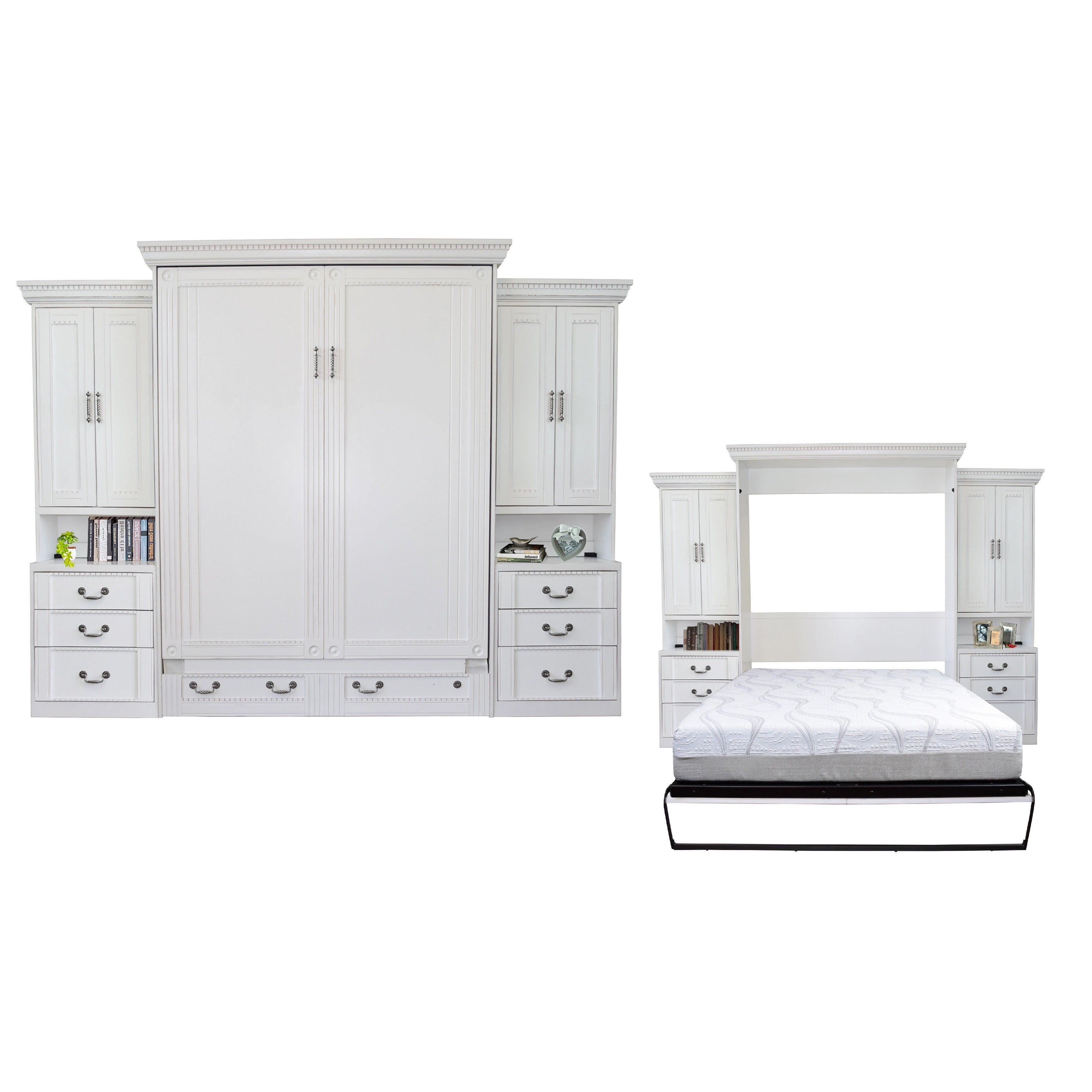 empire antique white queen size murphy bed and double pier cabinet