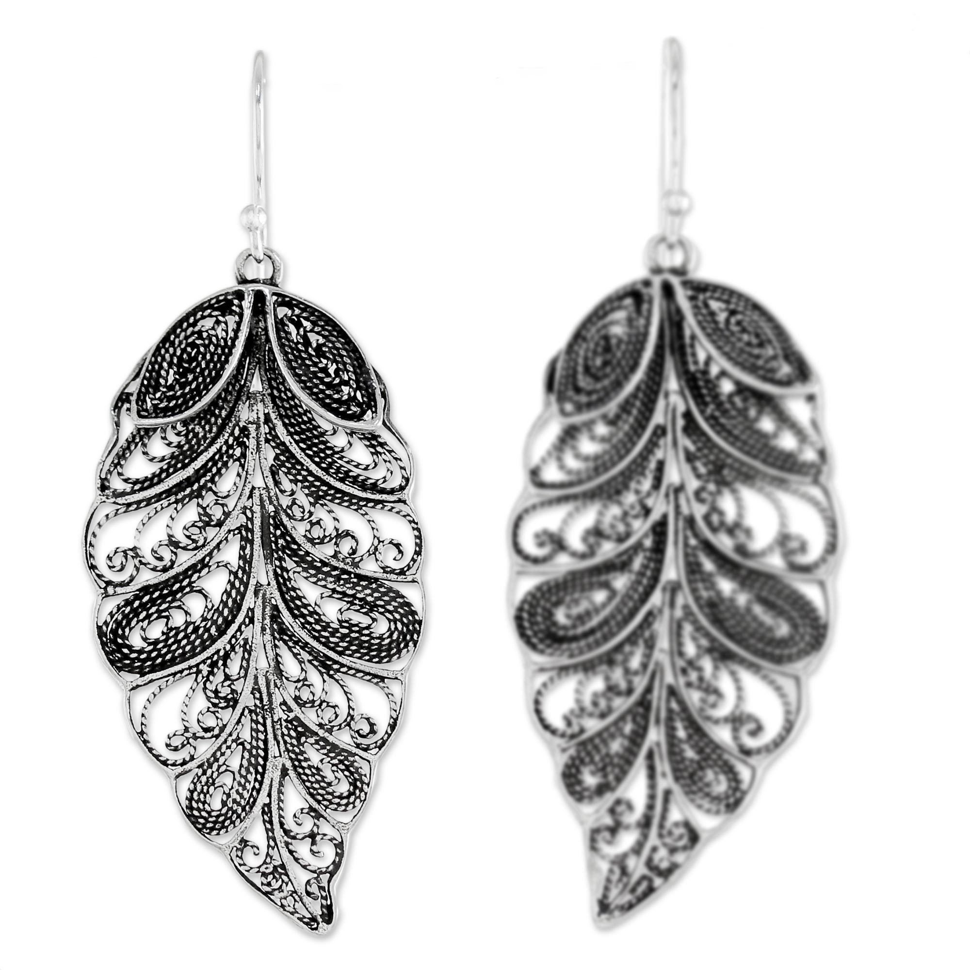 p bold contrasts sterling andean filigree silver handmade hook earrings novica