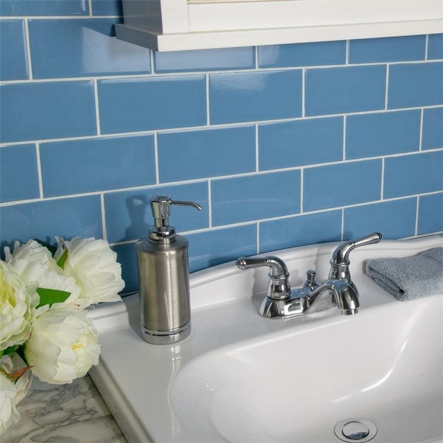 Shop SomerTile 3x6-inch Malda Subway Calm Blue Ceramic Wall Tile ...