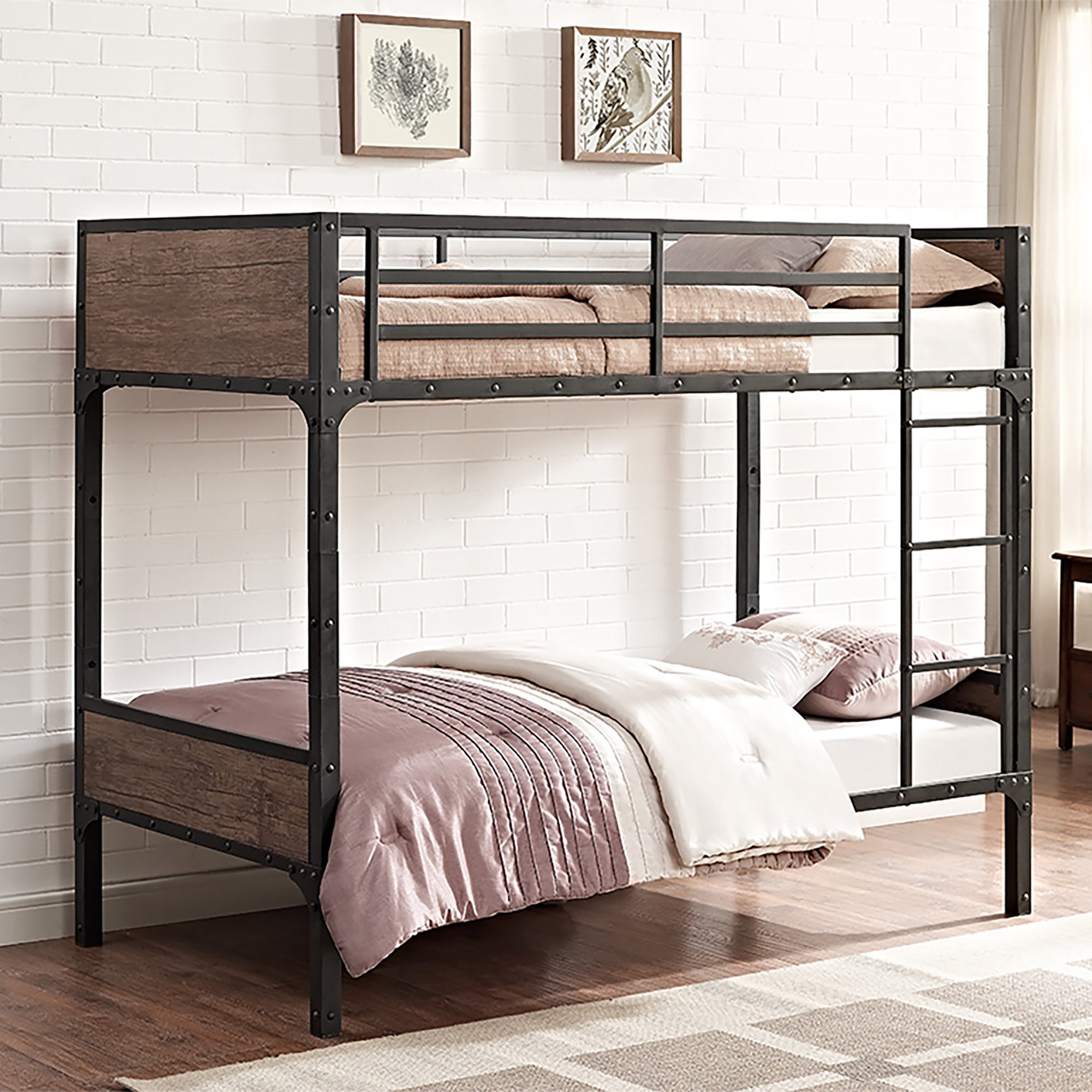 Shop rustic wood twin over twin bunk bed on sale ships to canada overstock ca 13863862