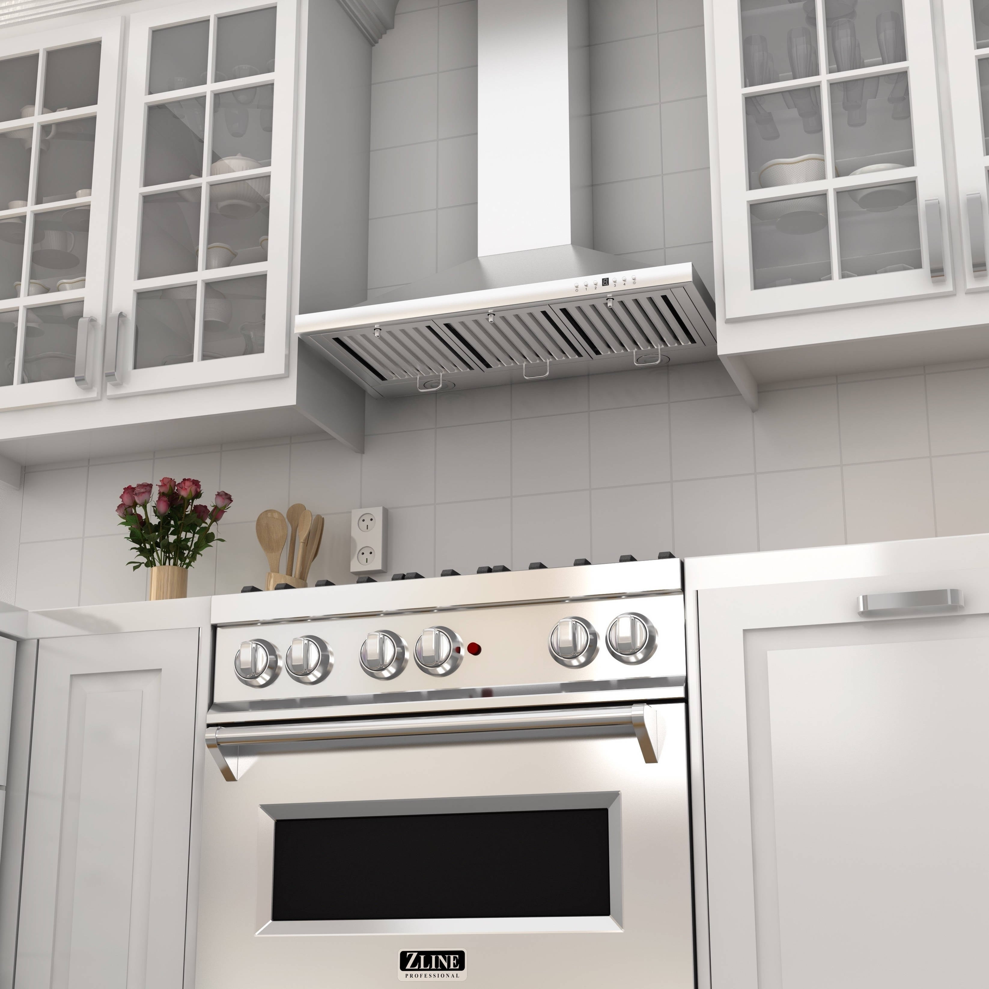 Shop ZLINE 48 in. 760 CFM Outdoor Wall Mount Range Hood in Stainless on corner stove with hood, kitchen tile backsplash with hood, stove top with hood, kitchen cabinets with hood, kitchen island with hood, black stove with hood, wood stove with hood, gas stove with hood, electric stove with hood,