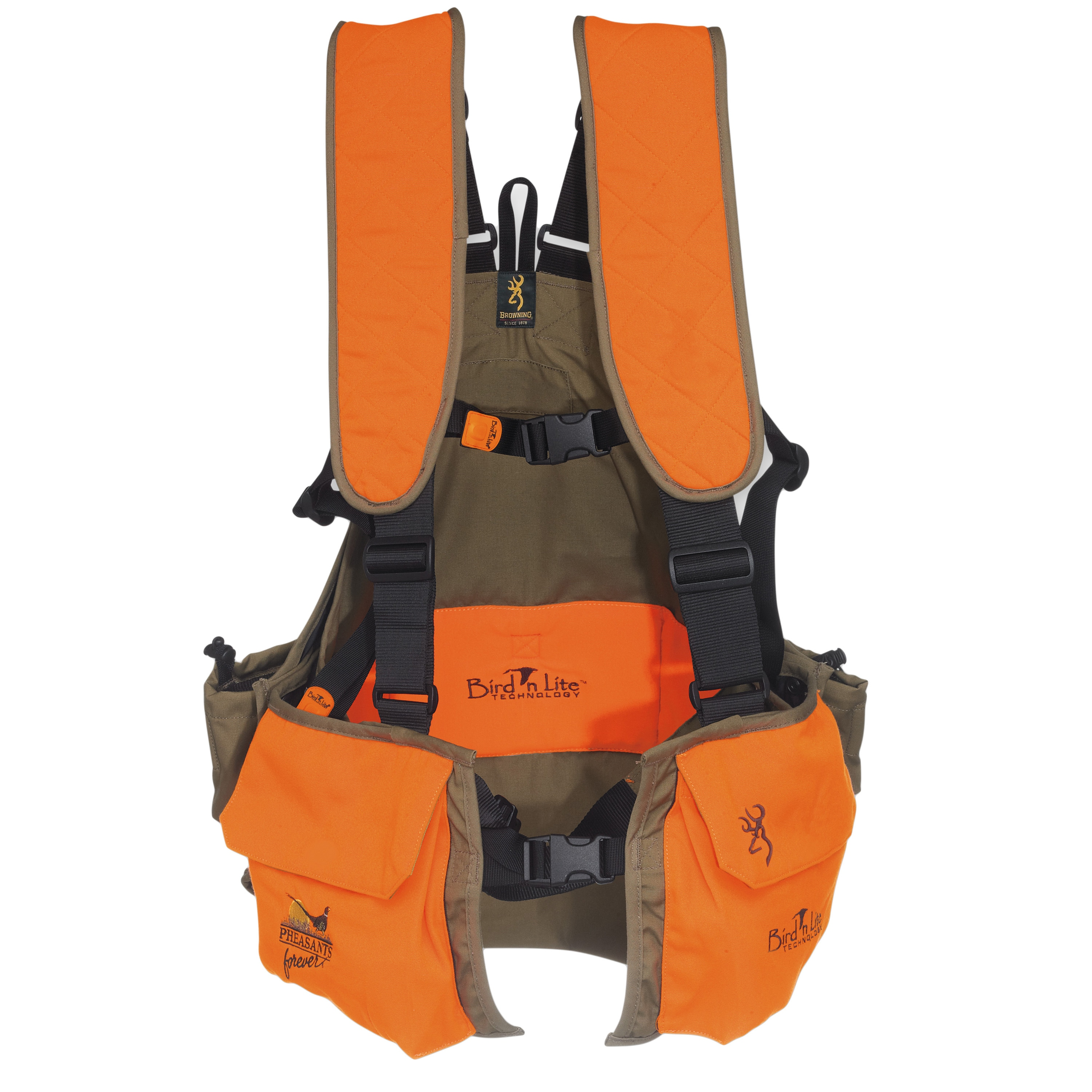 b6a2e8178ada0 Shop Browning Browning Bird'n Lite Pheasants Forever Khaki/Blaze Strap Vest  - Free Shipping Today - Overstock - 13870619
