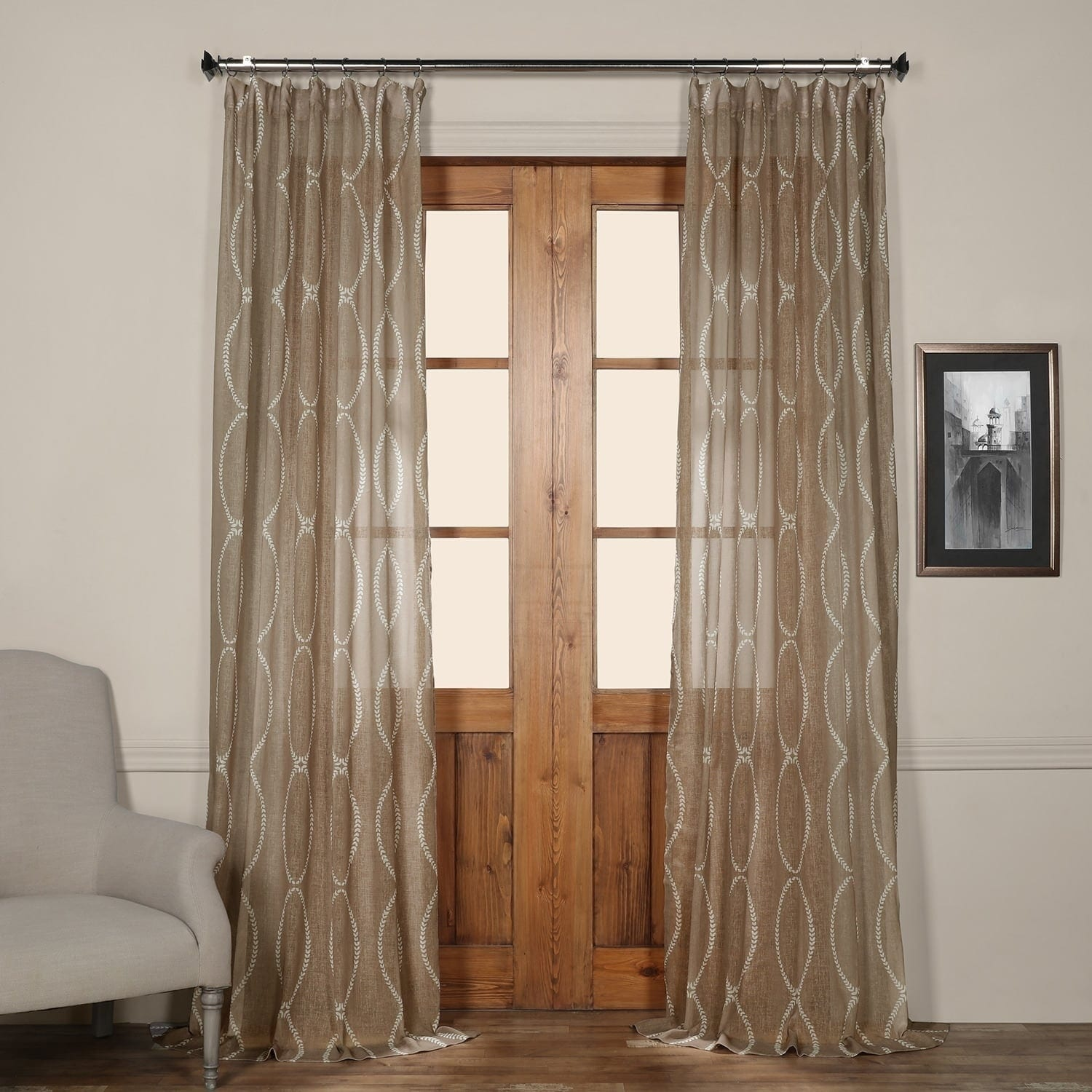 Shop Exclusive Fabrics Grecian Taupe Printed Sheer Curtain Panel