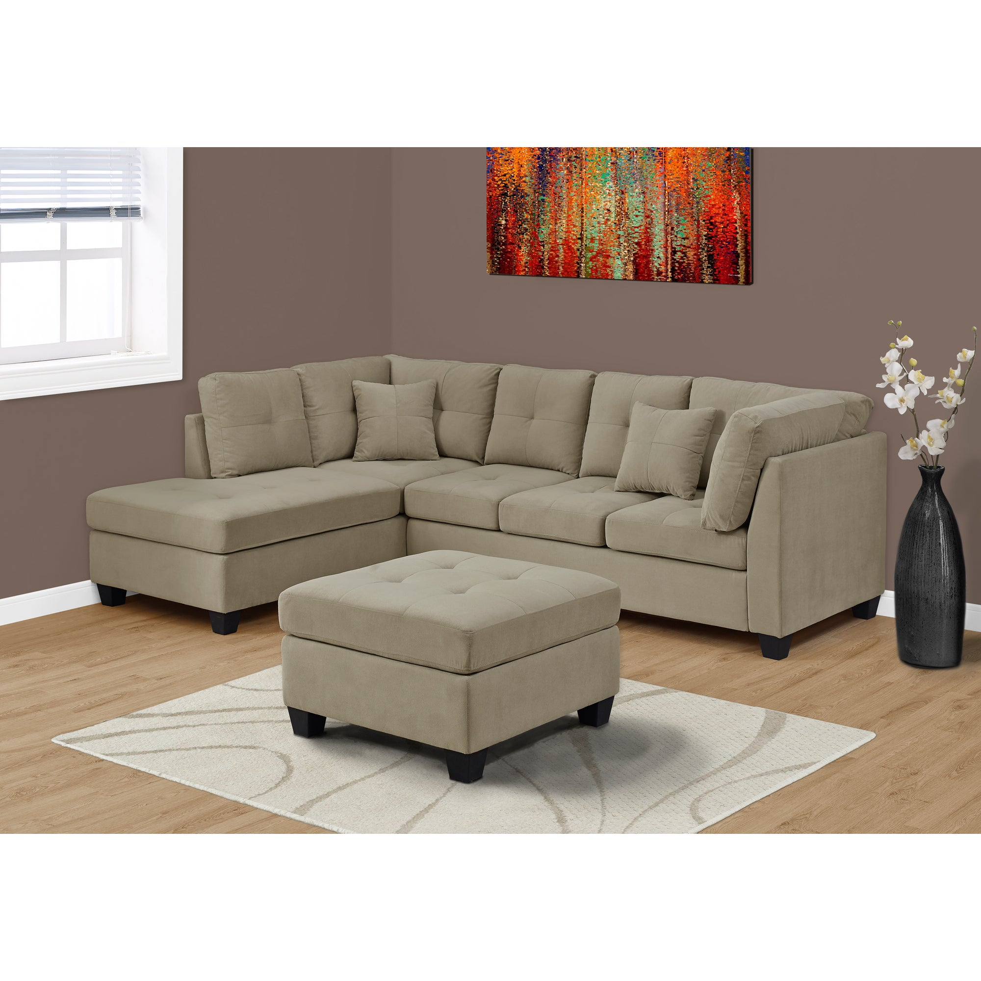 Shop taupe velvet sofa sectional free shipping today overstock com 13881255