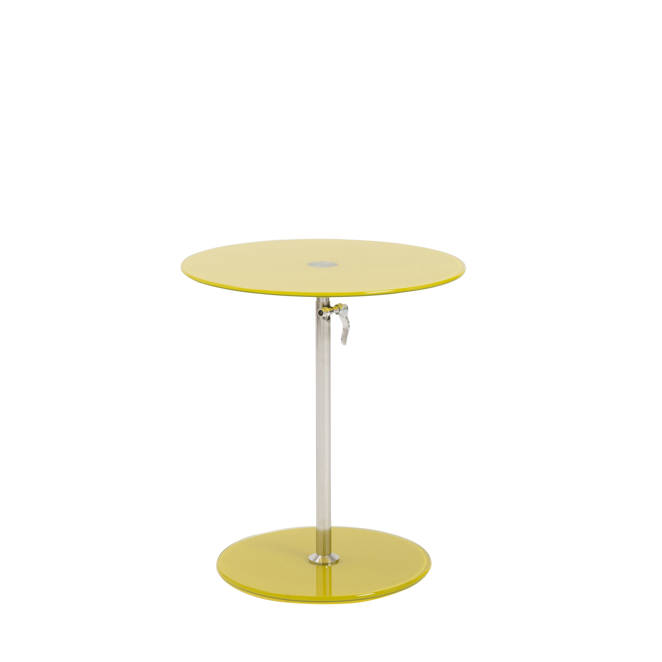 Shop euro style radinka yellow glass stainless steel round side table free shipping today overstock com 13882320