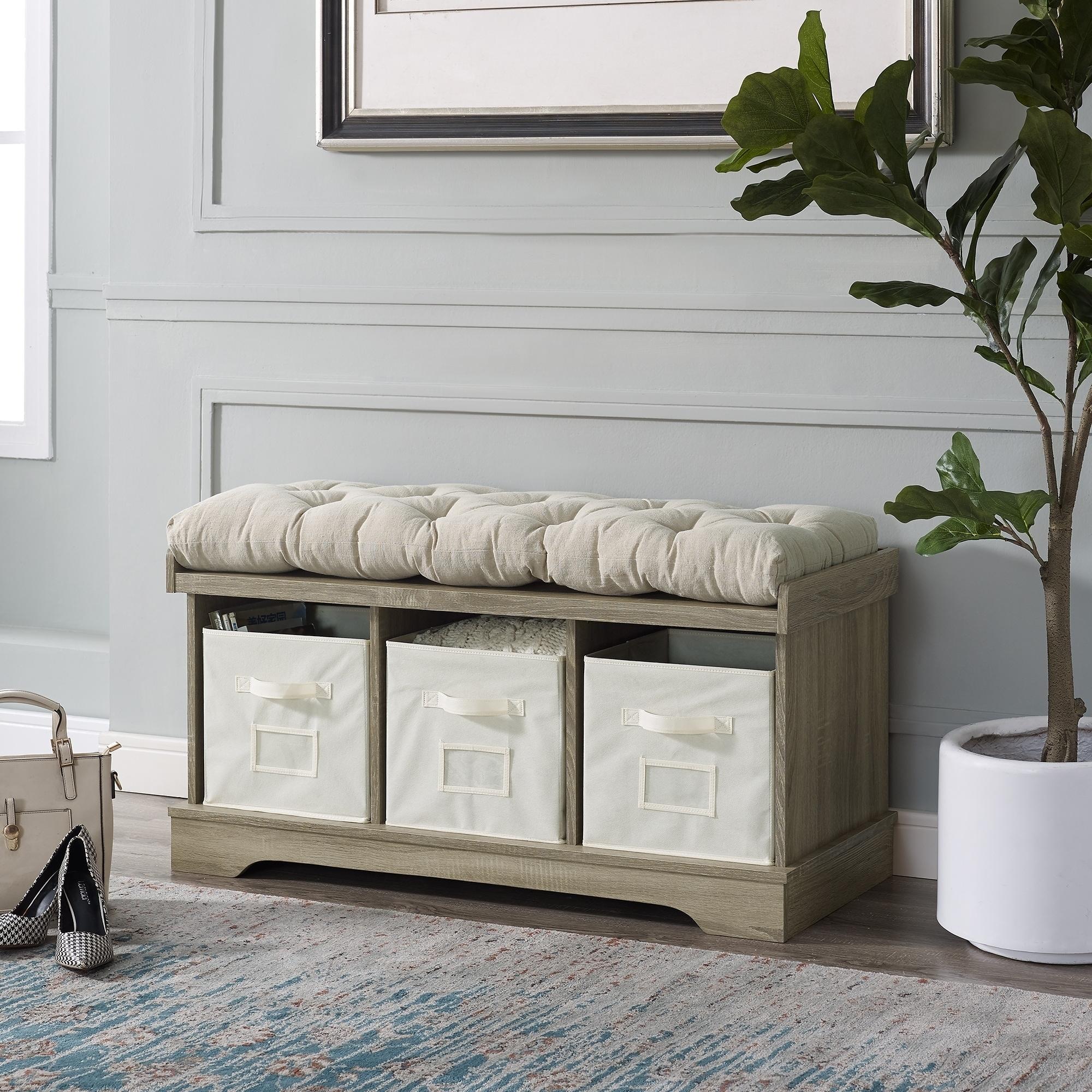 42 Inch Farmhouse Wood Entryway Storage Bench W Cushion And