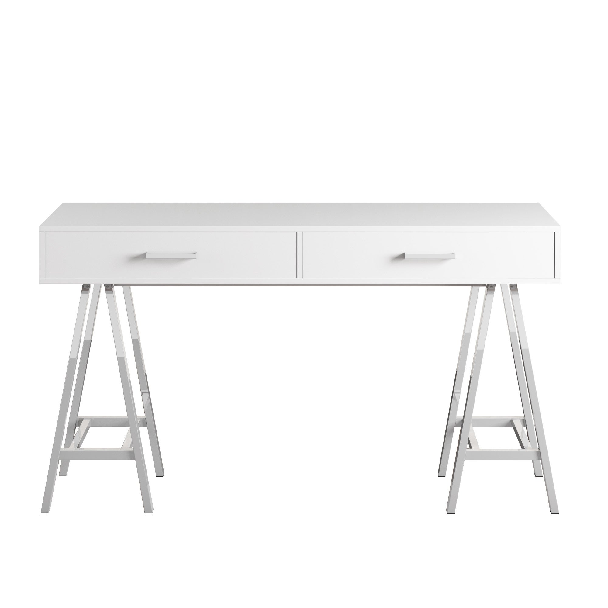 Neron 2-Drawer Chrome Leg Sawhorse Desk by INSPIRE Q - Free Shipping Today  - Overstock.com - 20547445