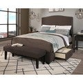 Republic Design House Newport Queen-size Grey Upholstered Headboard, Storage Bed and Bench Set