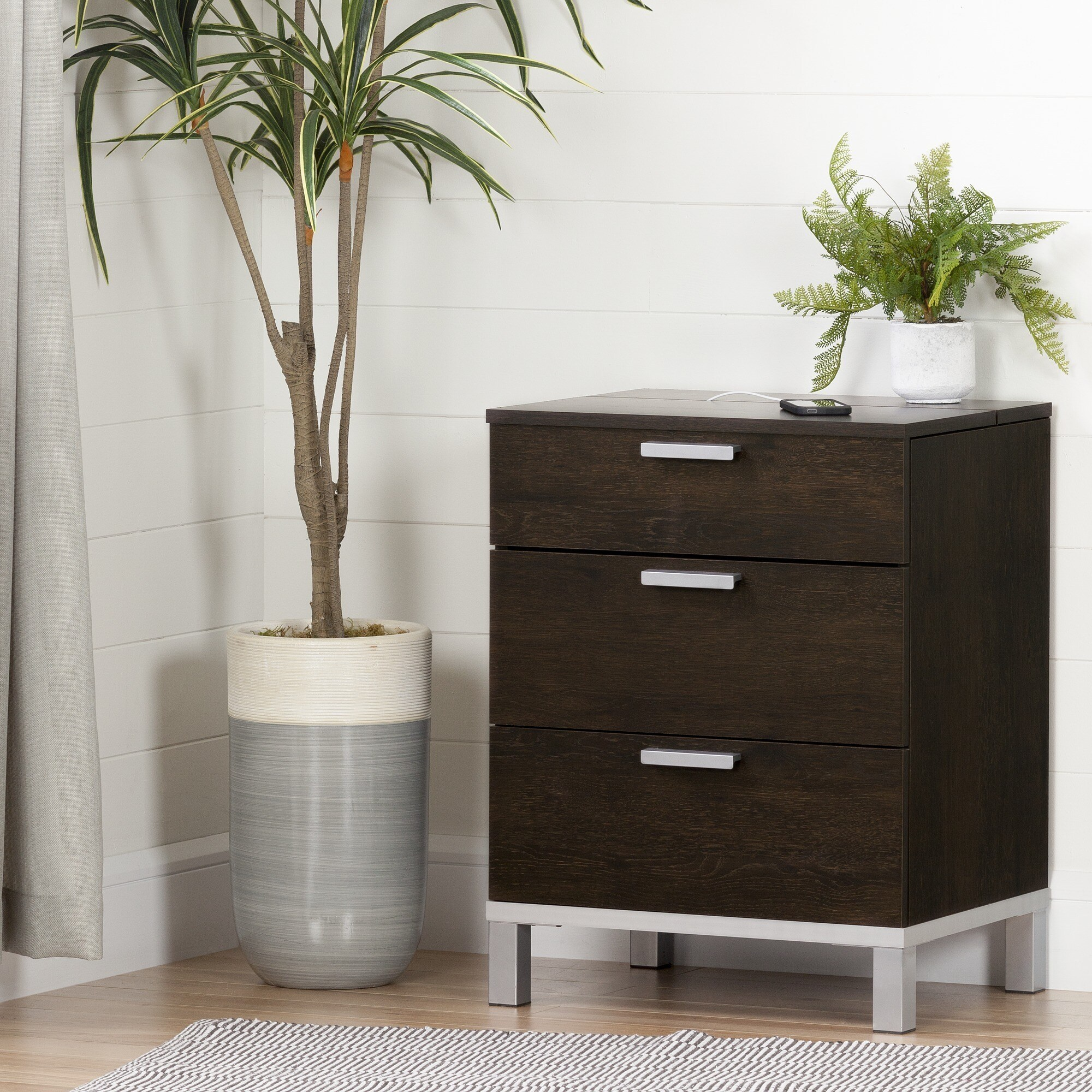 South Shore Flexible Nightstand With Charging Station And Drawers   Free  Shipping Today   Overstock.com   20549408