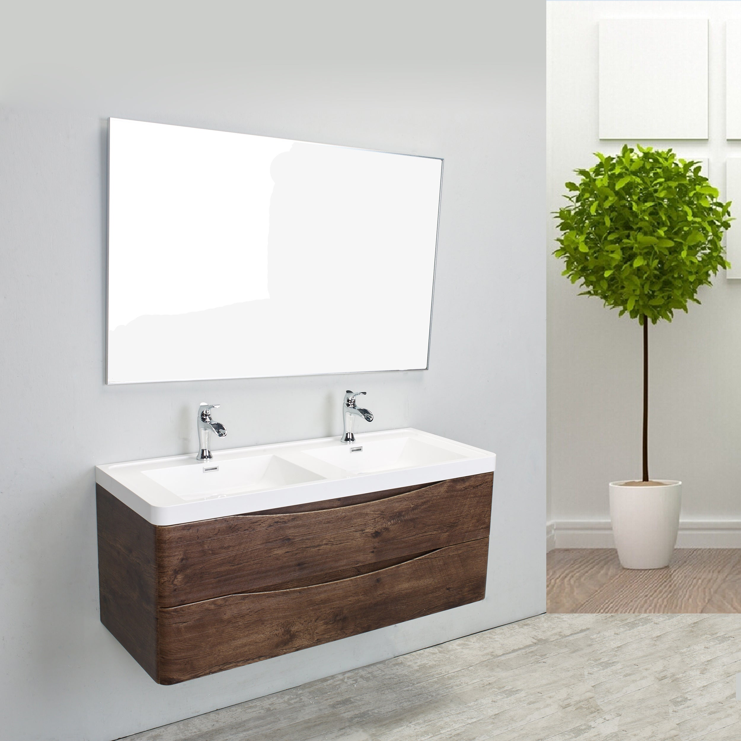 Shop Eviva Smile Rosewood Integrated White Acrylic Double Sink 48 ...