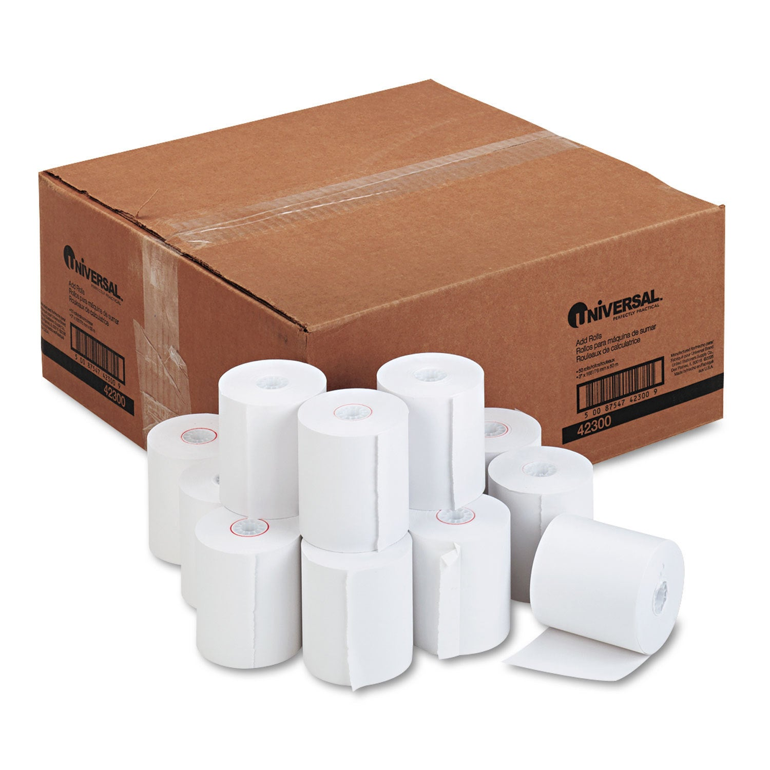 Universal 1-Ply Cash Register/Point of Sale Roll 16 -pound 1/2-inch Core  3-inch x 165 ft 50/Carton