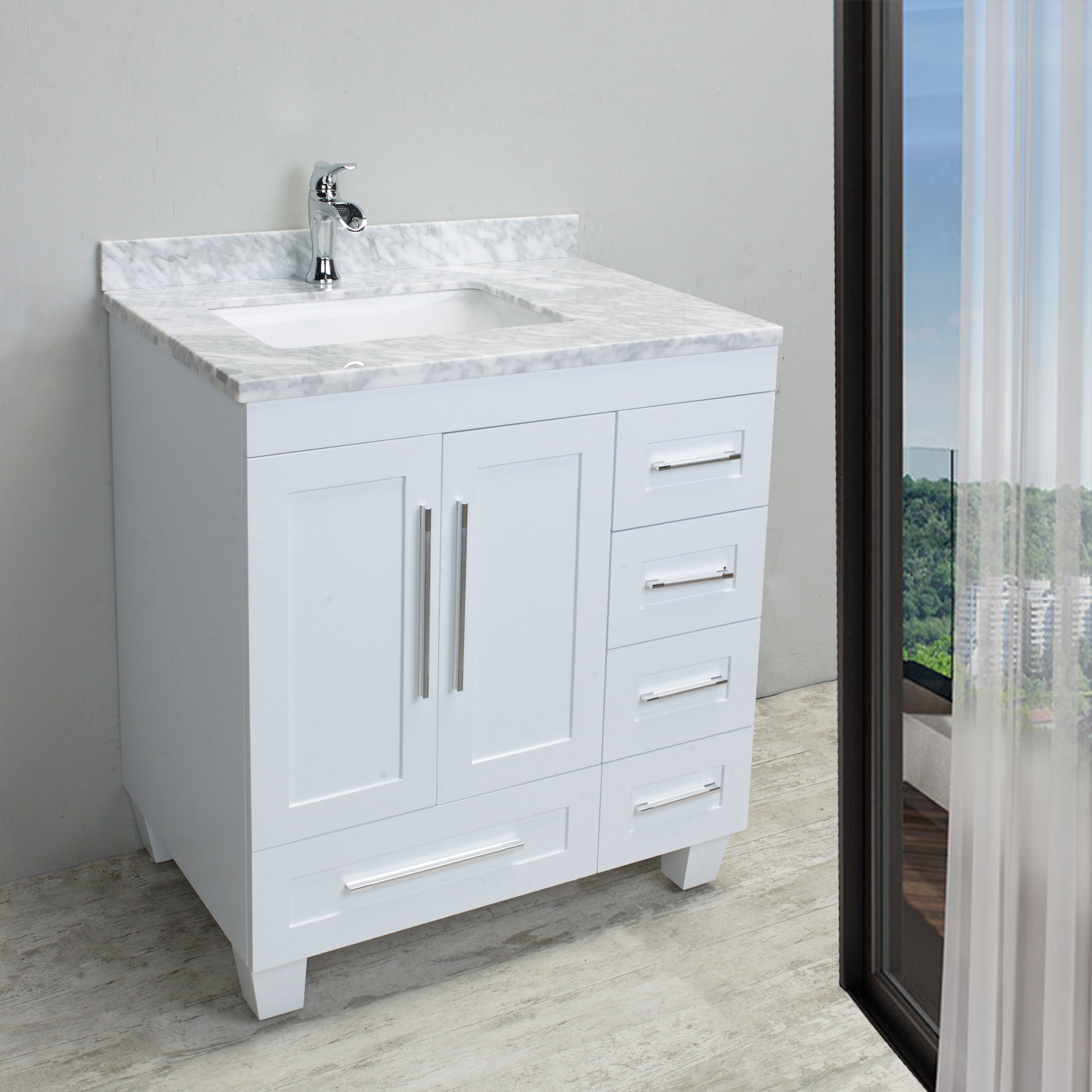 Shop Eviva Loon Transitional White 30-inch Bathroom Vanity with ...
