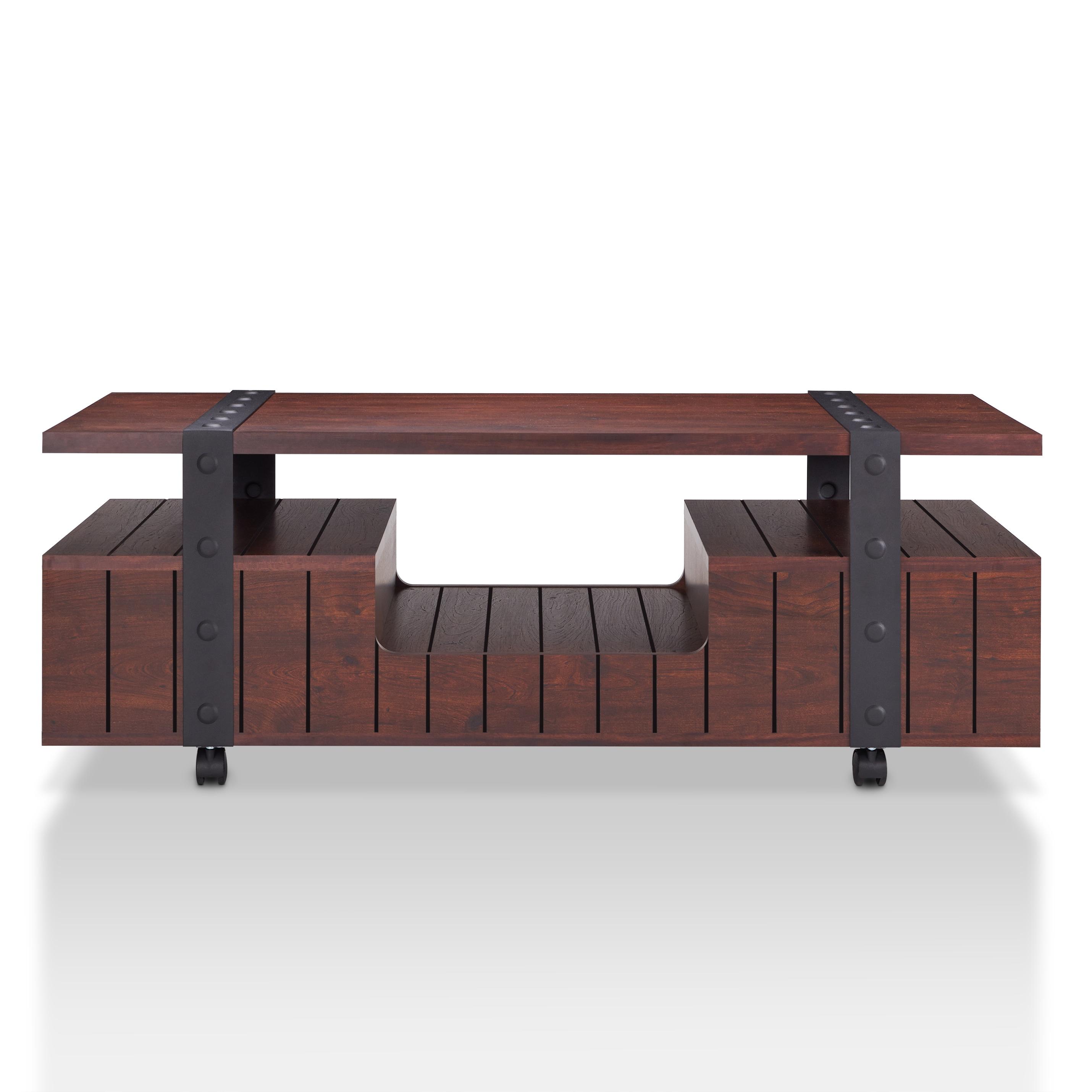 Furniture of America Bridges Industrial Vintage Walnut Plank Style
