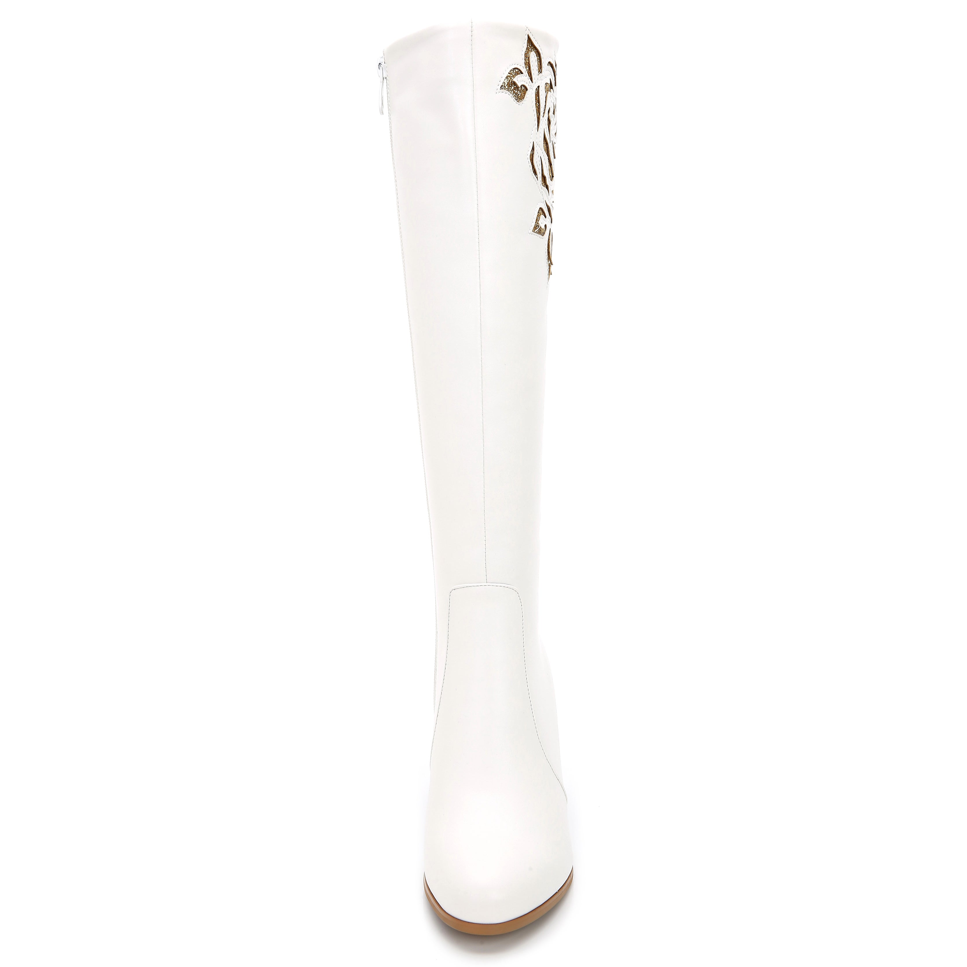 2a93b1a3cf3a87 Shop Rosewand Women s  Bolsa  White Faux Leather Patterned Stitch  Glittering Boots - Free Shipping Today - Overstock - 13928518
