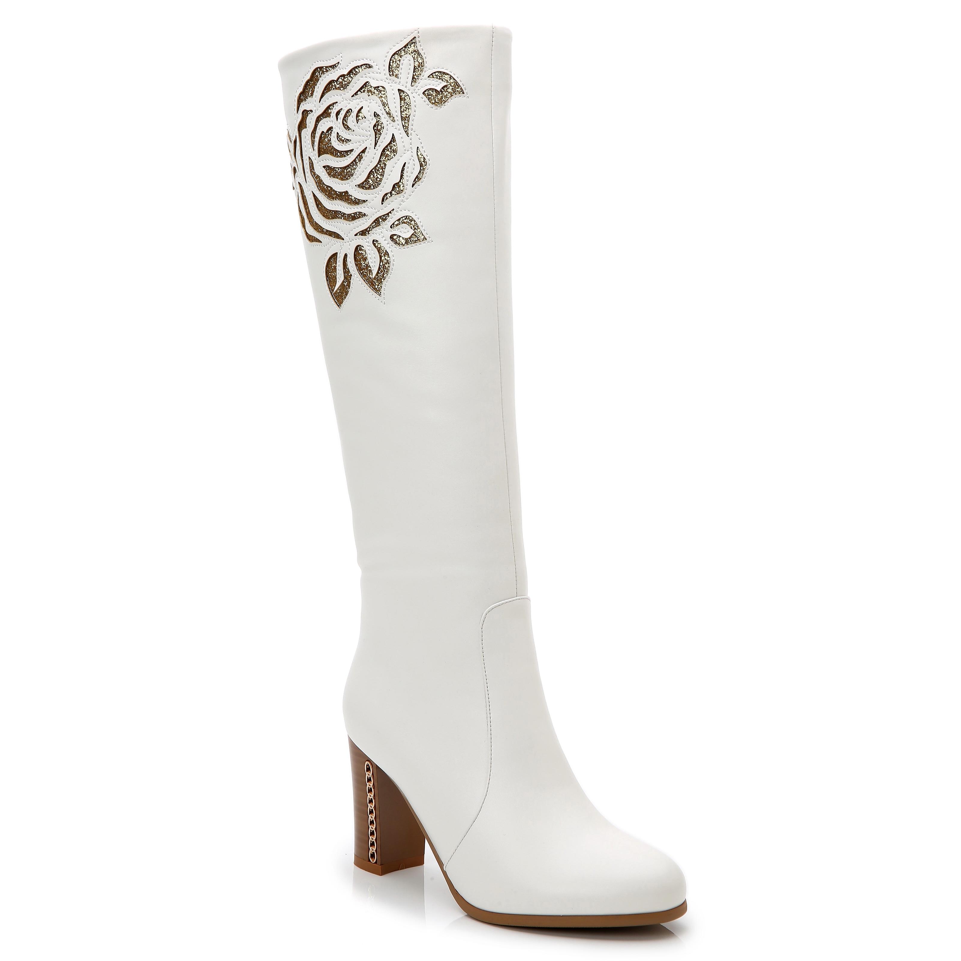 81f768e526292f Rosewand Women s  Bolsa  White Faux Leather Patterned Stitch Glittering  Boots