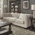 Knightsbridge Beige Linen Tufted Fabric Nailhead Sofa by iNSPIRE Q Artisan