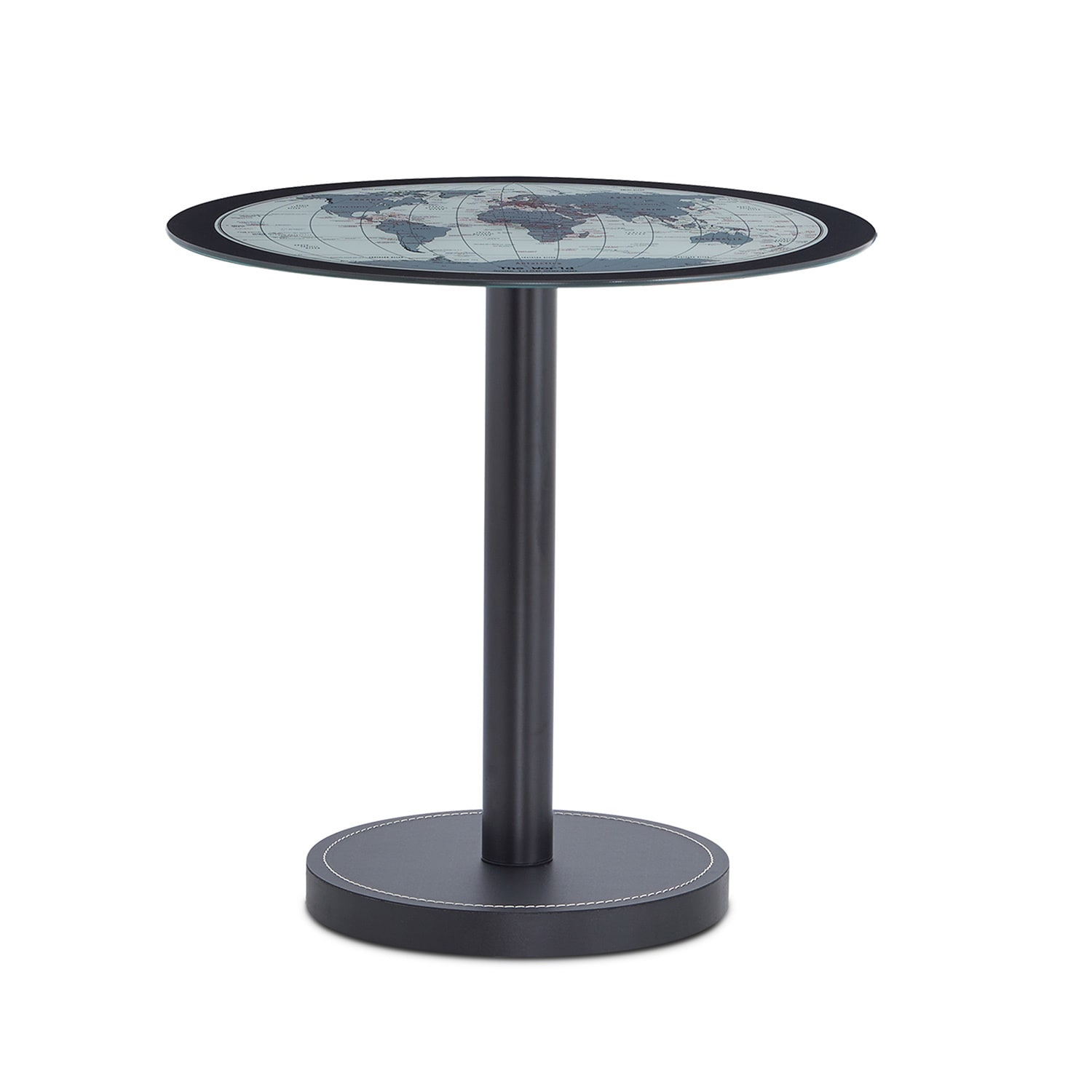 shop acme furniture boli black metal and leather side table with map glass top free shipping today overstockcom 13928952 - Leather Side Tables
