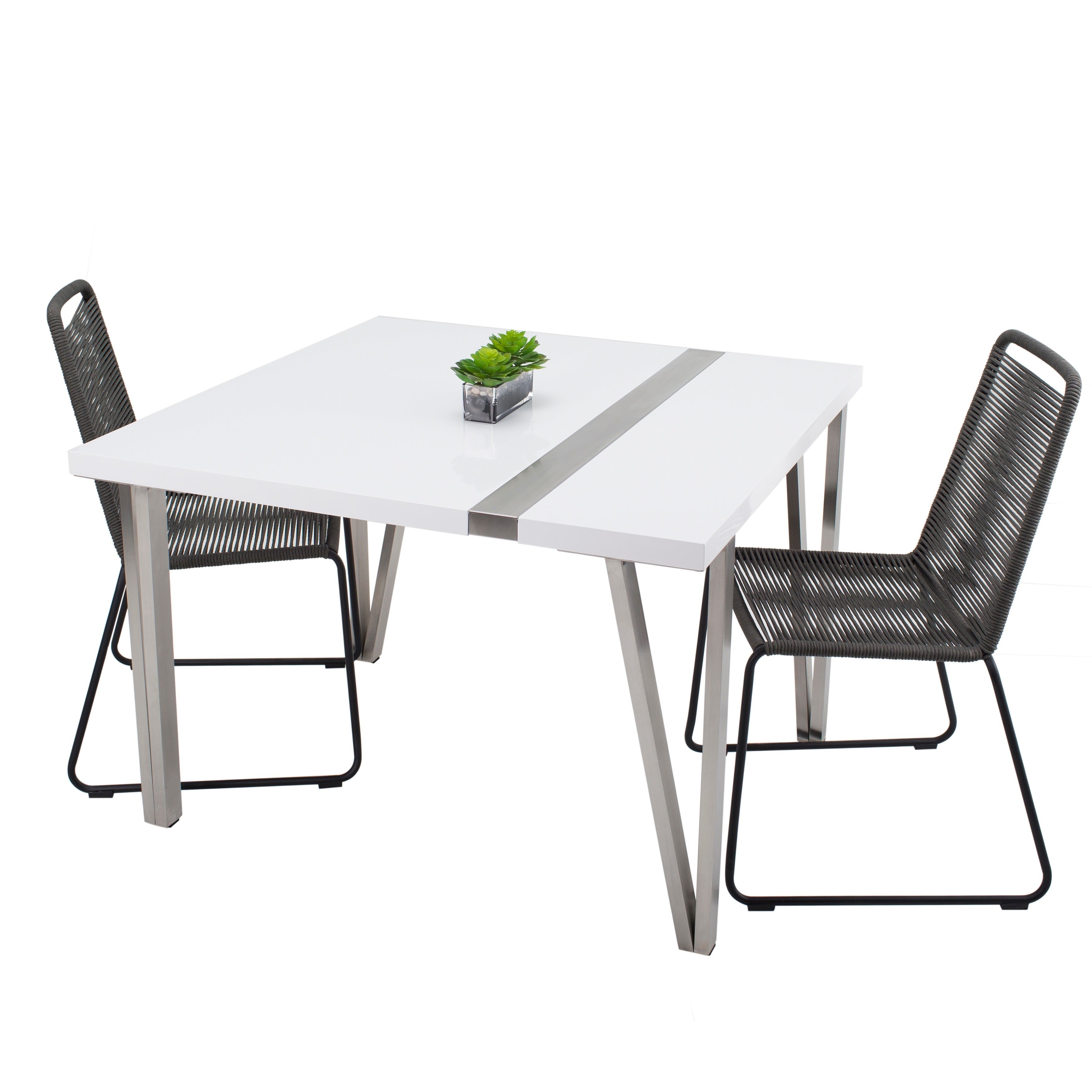 Mix White High Gloss Lacquer Square Top And Brushed Stainless Steel Legs Table Free Shipping Today 13929419