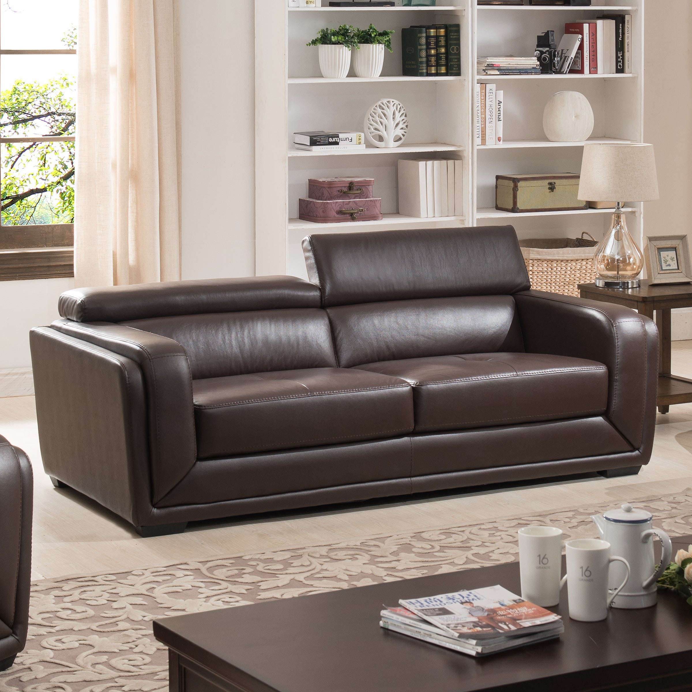 Christies home living calvin brown modern leather living room sofa
