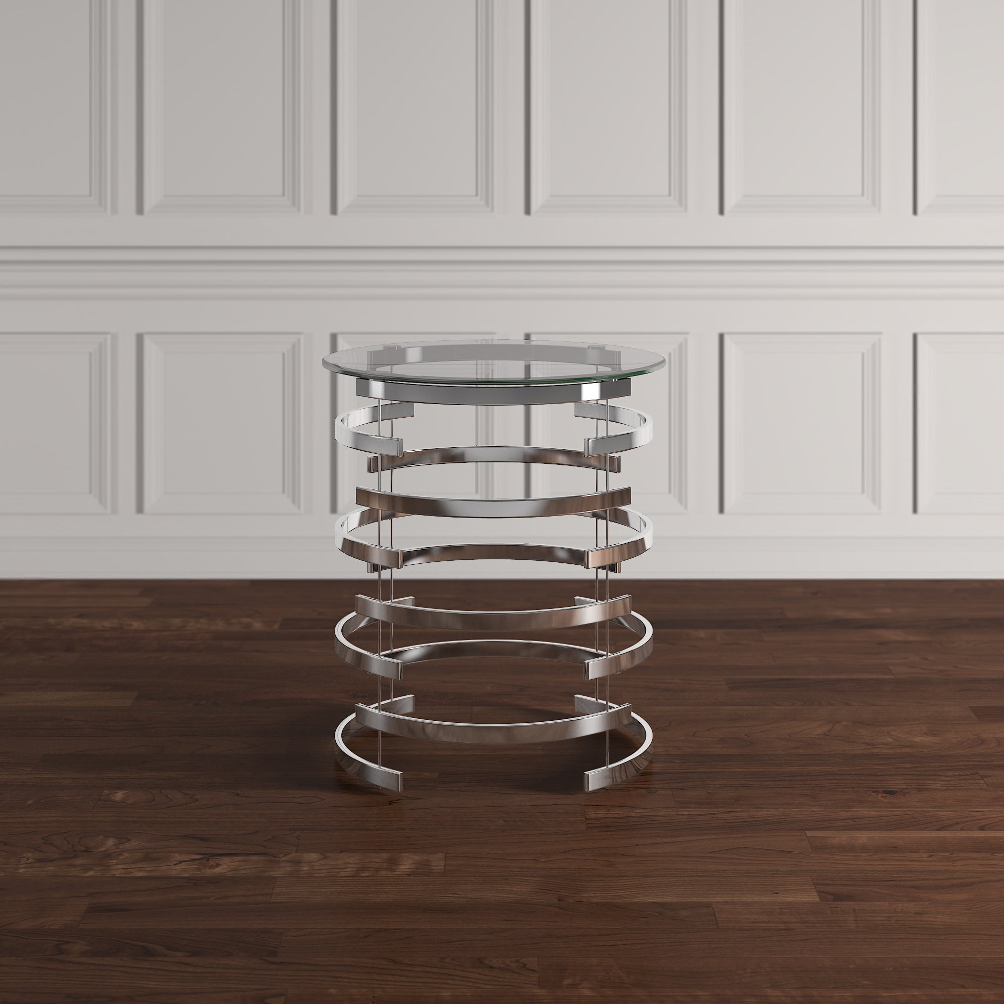 Shop Nova Modern Glam Round Glass Top Metal Foyer Table By INSPIRE Q Bold    On Sale   Free Shipping Today   Overstock.com   13929744