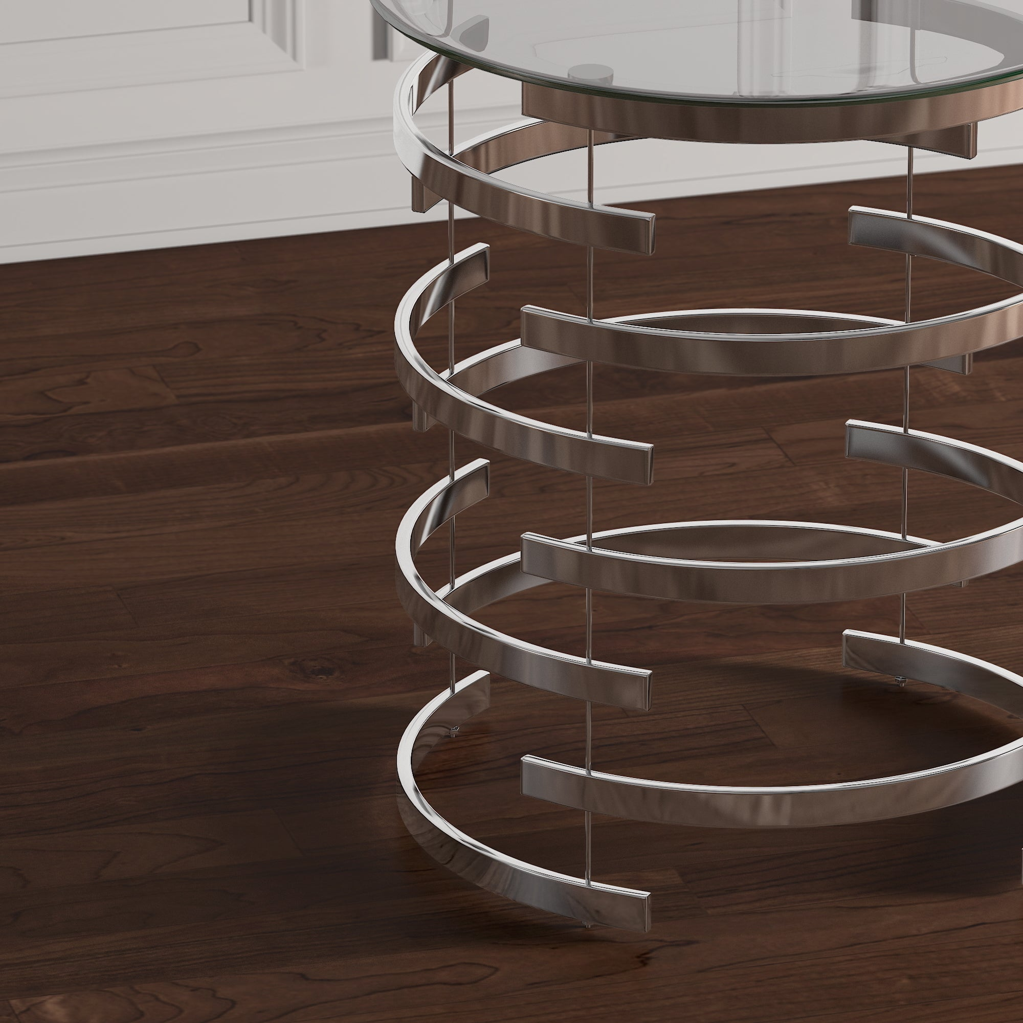 Nova Modern Glam Round Glass Top Metal Foyer Table By INSPIRE Q Bold   Free  Shipping Today   Overstock   20562248