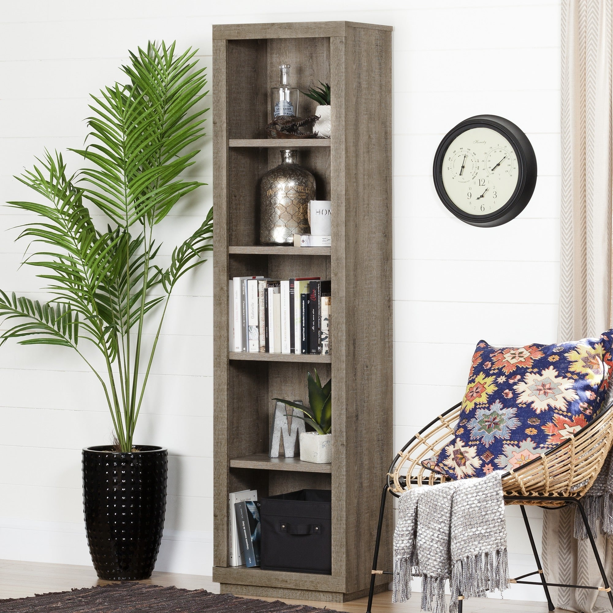 Shop South Shore Furniture Kanji 5 Shelf Narrow Bookcase   Free Shipping  Today   Overstock.com   13930045