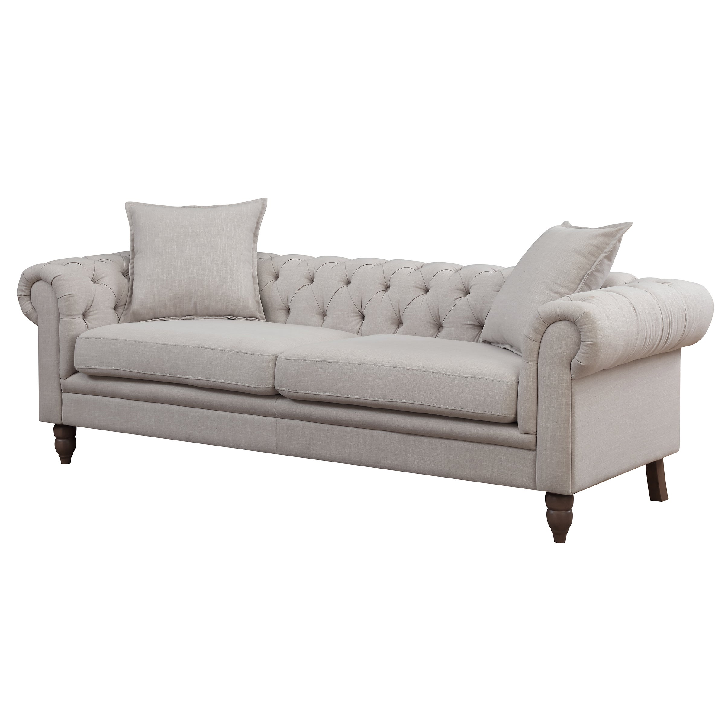 Charmant Shop Christies Home Living Juliet Small Chesterfield Tufted Beige Linen  Fabric Sofa   On Sale   Free Shipping Today   Overstock.com   22801441