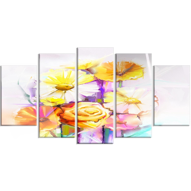 Shop Designart \'Yellow Pink Gerbera and Rose Bouquet\' Extra Large ...