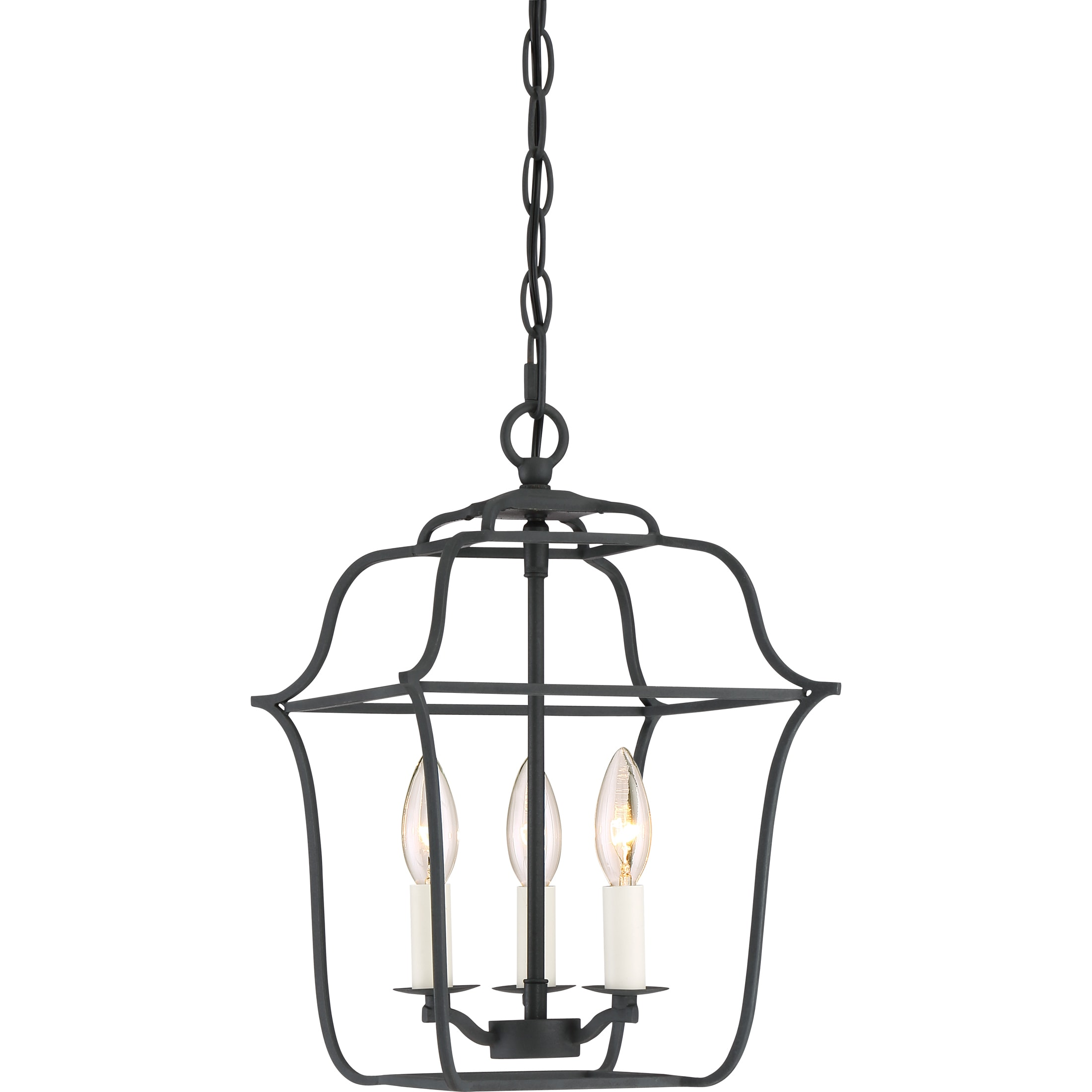 Quoizel Gallery Cage Chandelier With 3 Lights in Royal Ebony