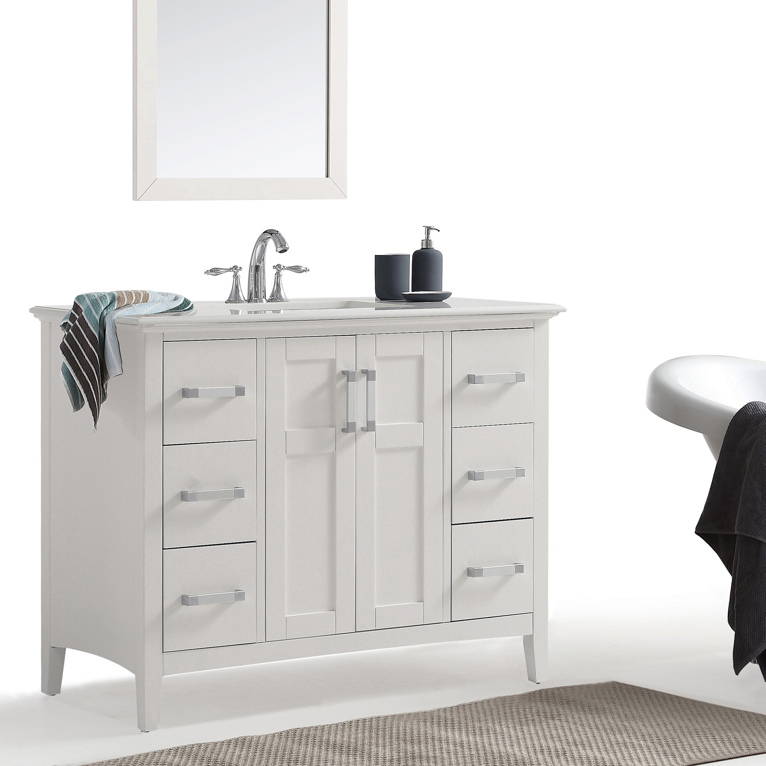Wyndenhall M 42 Inch Bath Vanity In White With Quartz Marble Top On Free Shipping Today 13933054