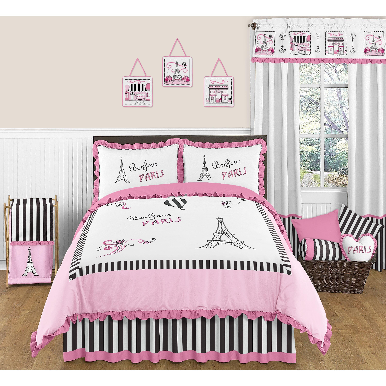 Pink Black White Eiffel Tower Full Queen 3 piece forter Set