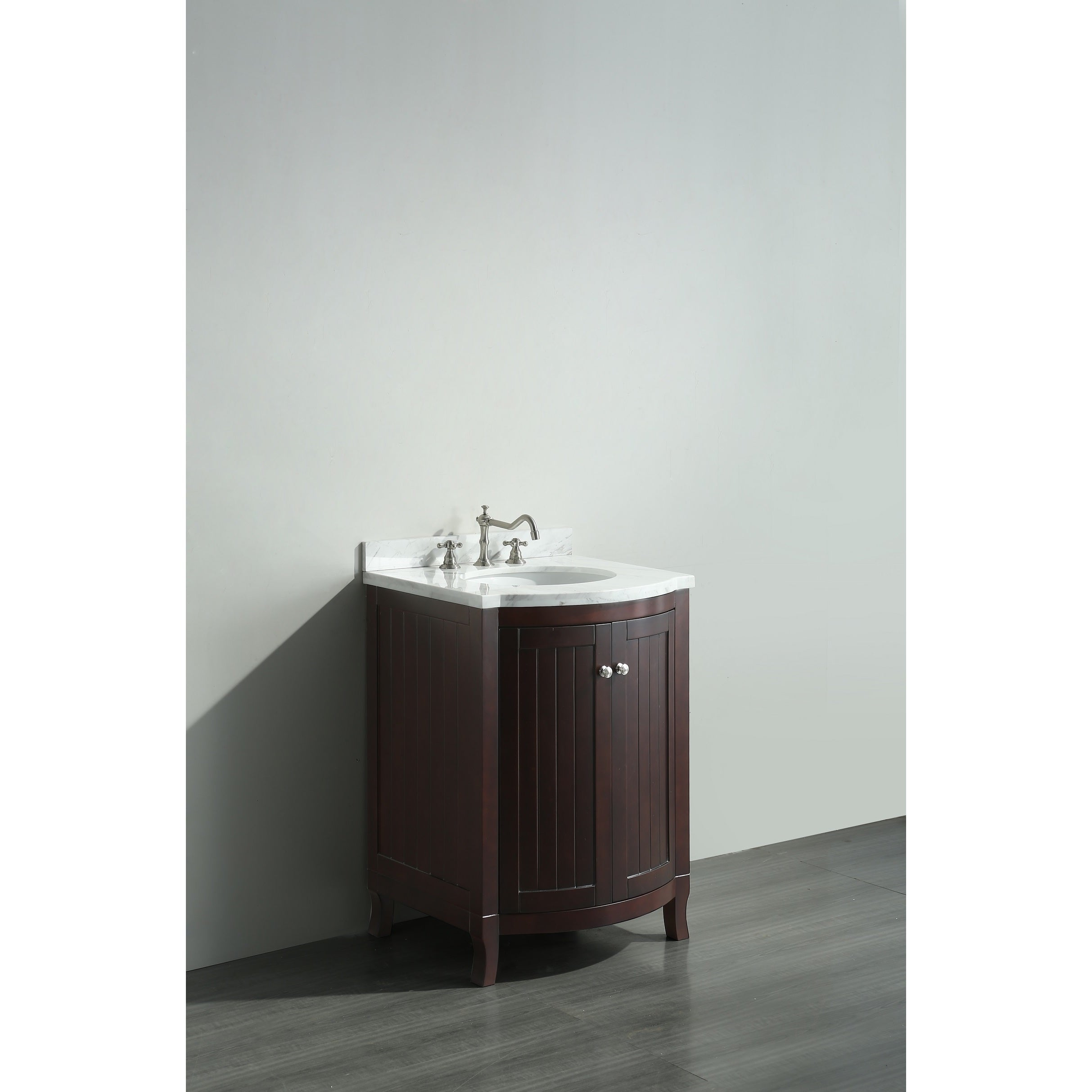 Eviva Odessa Zinx Dark Teak 24 Inch Bathroom Vanity With White Carrera Marble Counter Top And Porcelain Sink Free Shipping Today