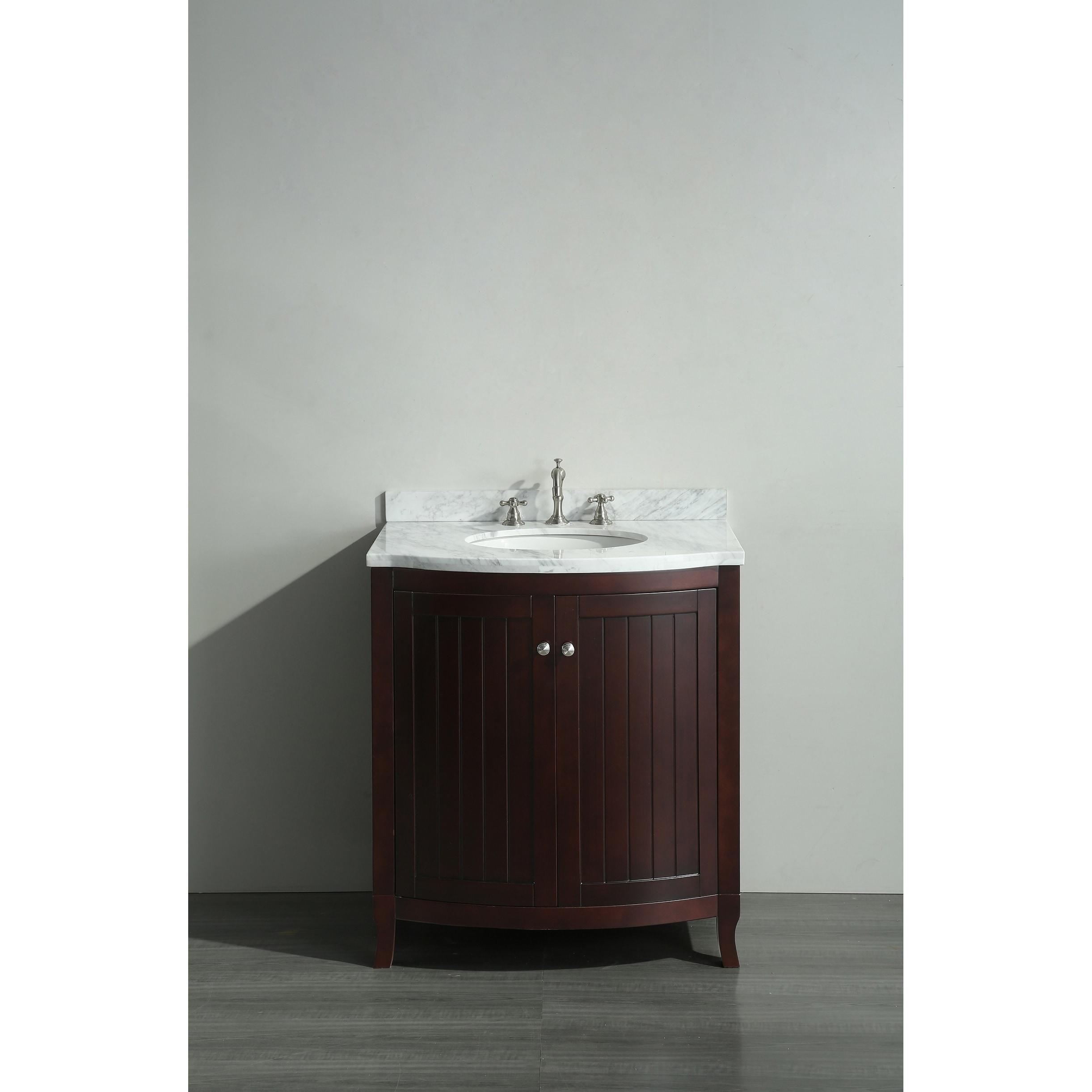Eviva Odessa Zinx Dark Teak 30-inch Bathroom Vanity with White ...