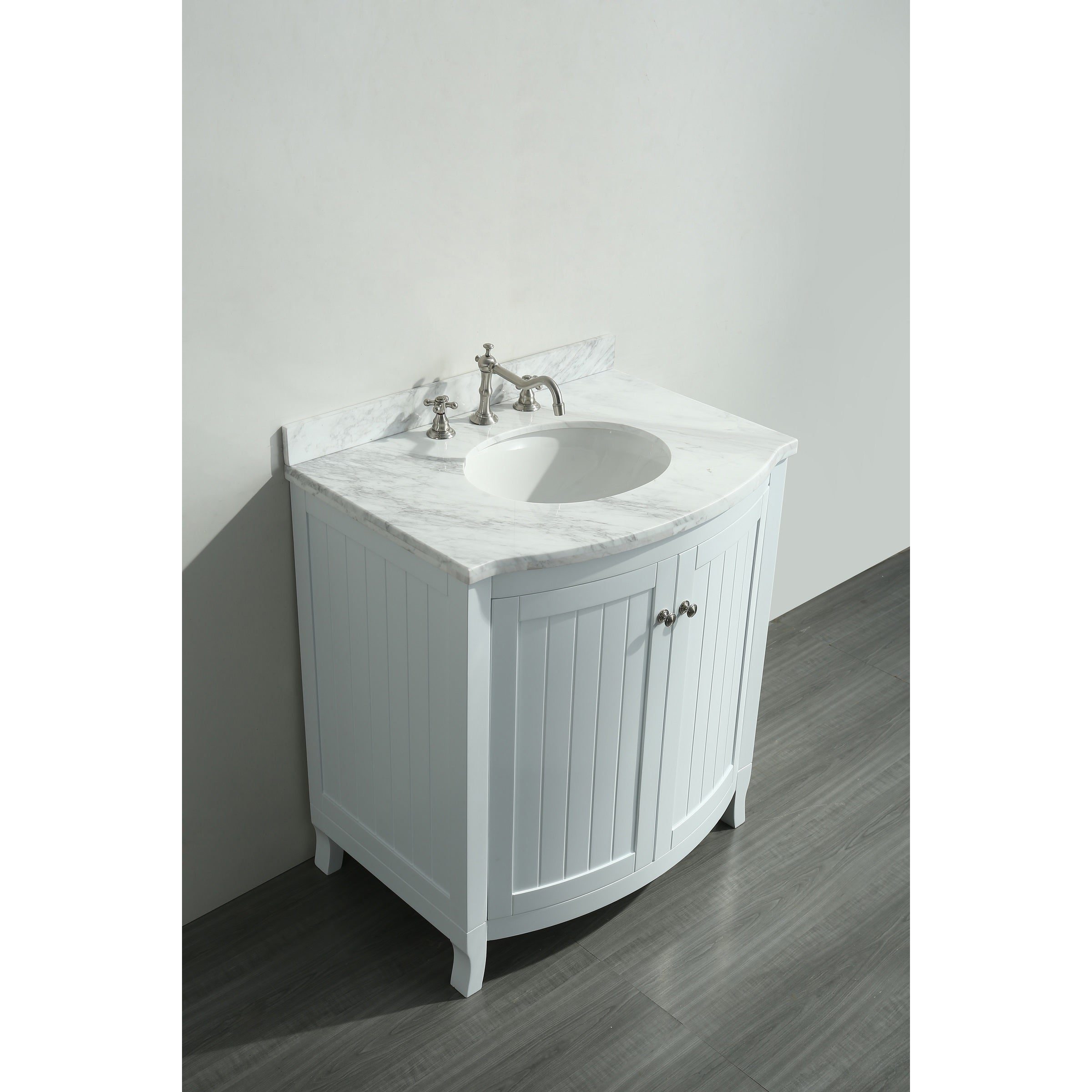 Eviva Odessa Zinx White 30 Inch Bathroom Vanity With Carrera Marble Top Free Shipping Today 13934786
