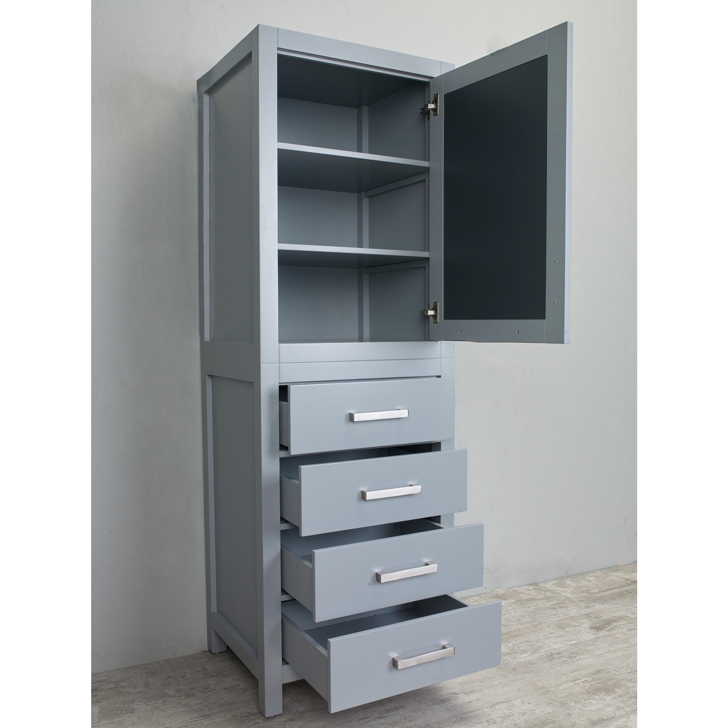 Shop Eviva New York 24-inch Grey Side/Linen Bathroom Cabinet Storage ...