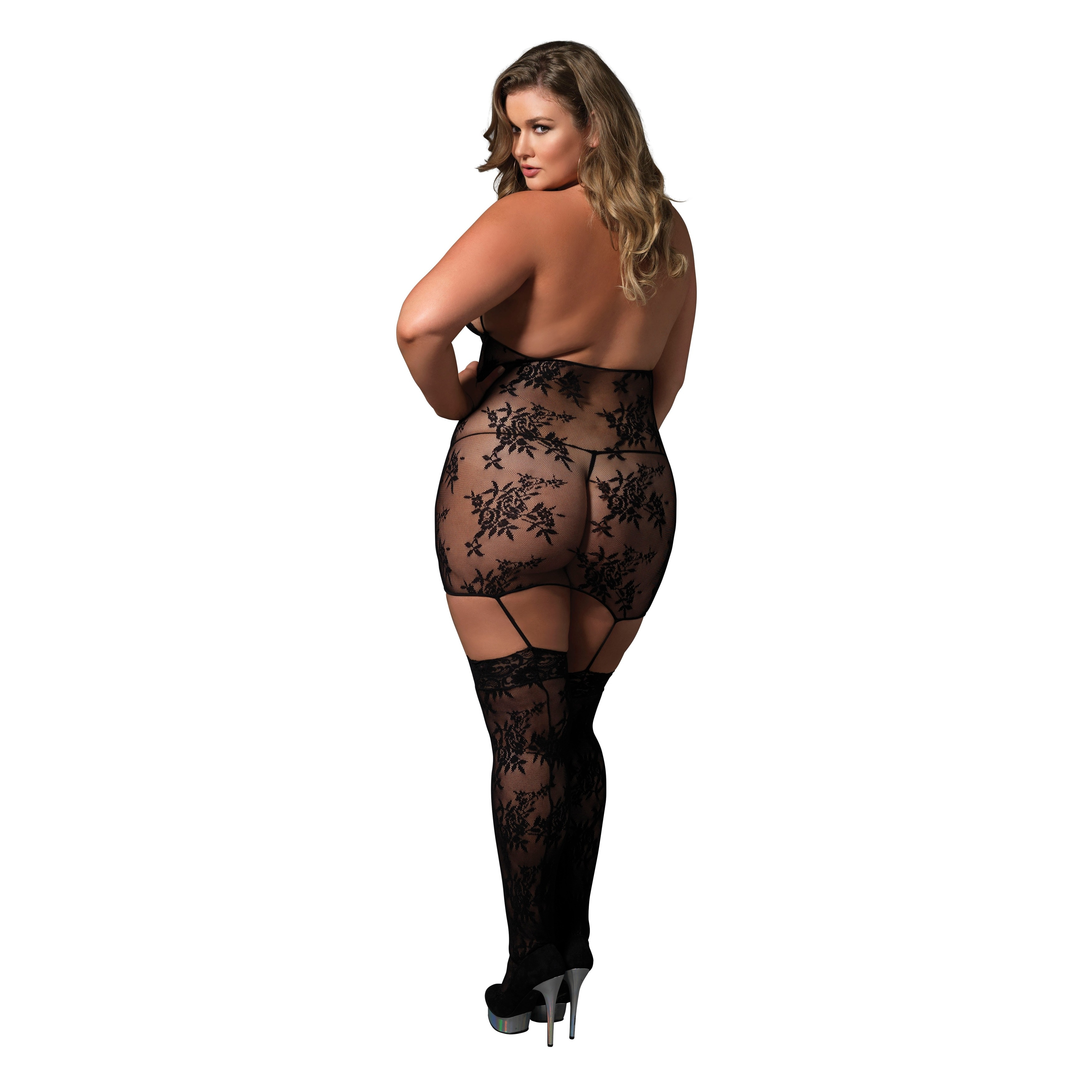 1e808b1b9 Shop Leg Avenue Women s Plus Size Black Lace Cage Strap Suspender Bodystocking  Lingerie - Free Shipping On Orders Over  45 - Overstock - 13935996
