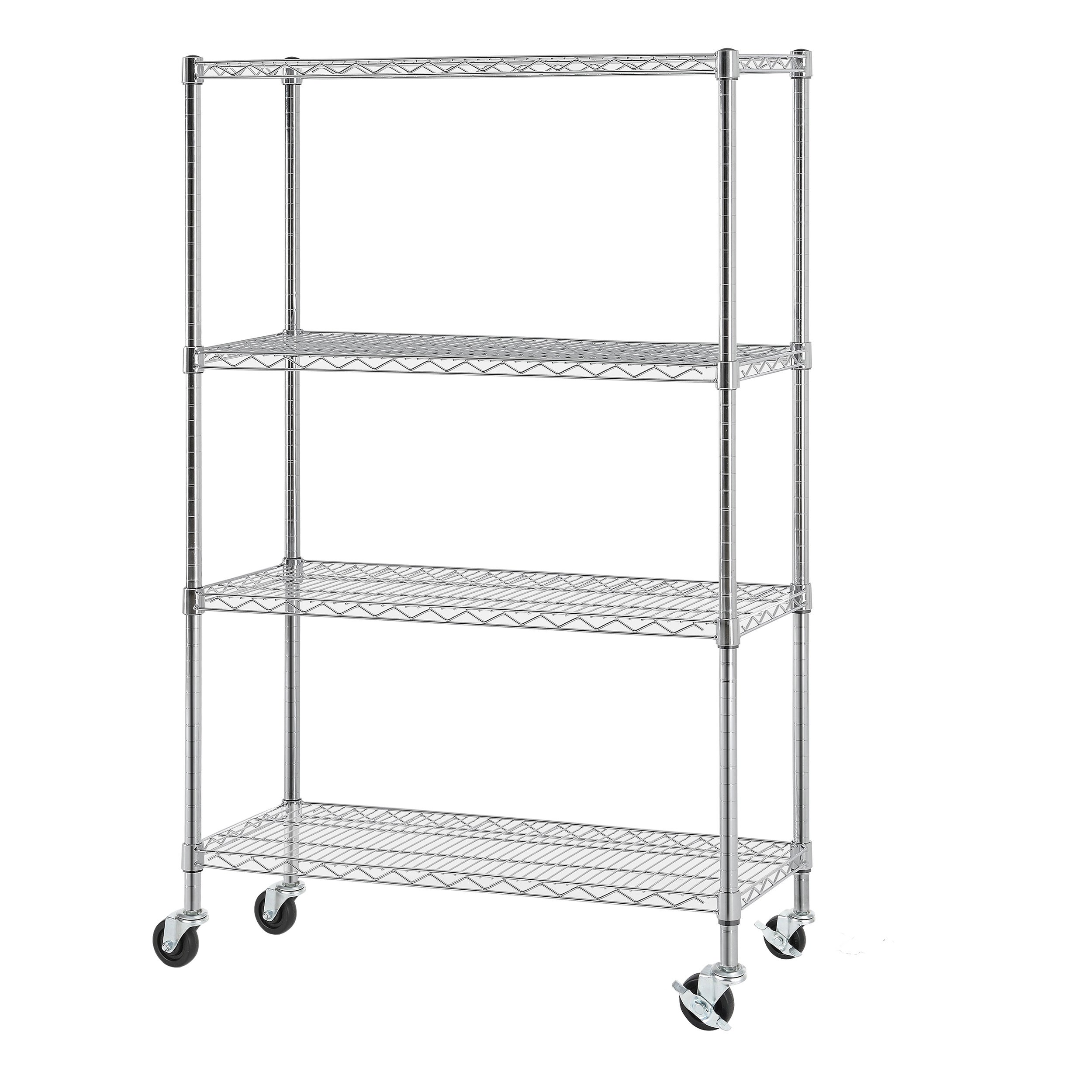 Excel NSF Multi-Purpose 4-Tier Wire Shelving Unit with Casters, 36 ...