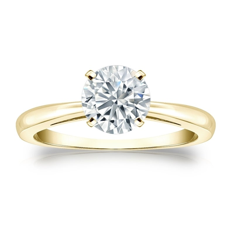 0940b99fa Shop Auriya 18k Gold GIA Certified 1.50ct. TDW Round Solitaire Diamond  Engagement Ring - On Sale - Free Shipping Today - Overstock.com - 13939700 .
