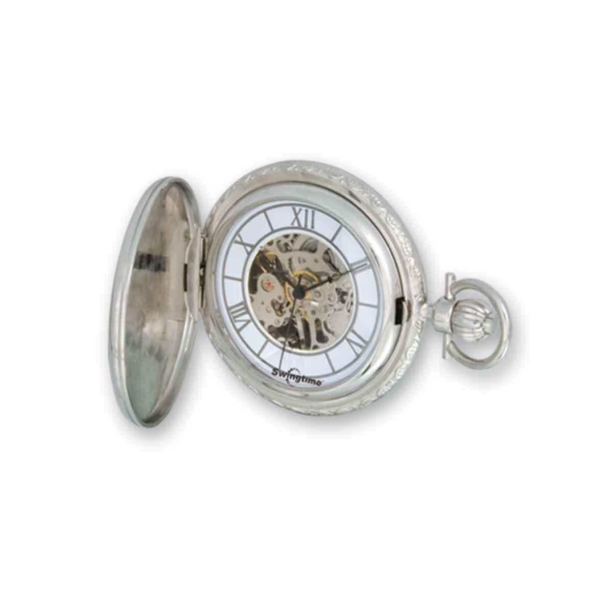 1e8b0129f Shop Versil Swingtime Rose and Chrome-finish Mechanical Pocket Watch - Free  Shipping Today - Overstock.com - 13950538