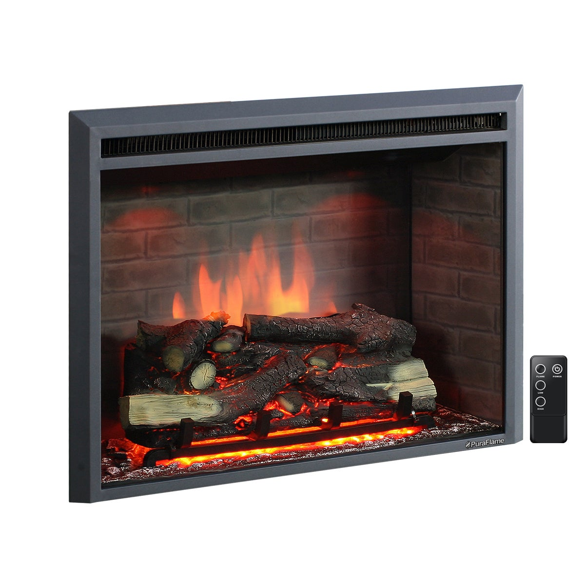 Puraflame 33 Inch Western Electric Fireplace Insert With Remote Control On Free Shipping Today 13951586