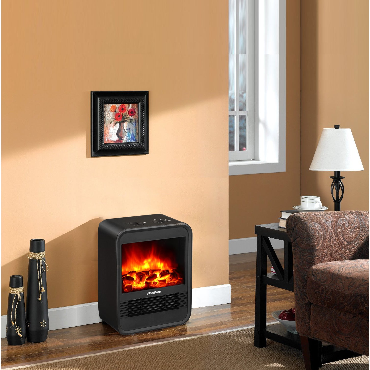 mini electric fireplace heater. PuraFlame 9-inch Clara Mini Electric Fireplace Heater - Free Shipping Today Overstock 20581407