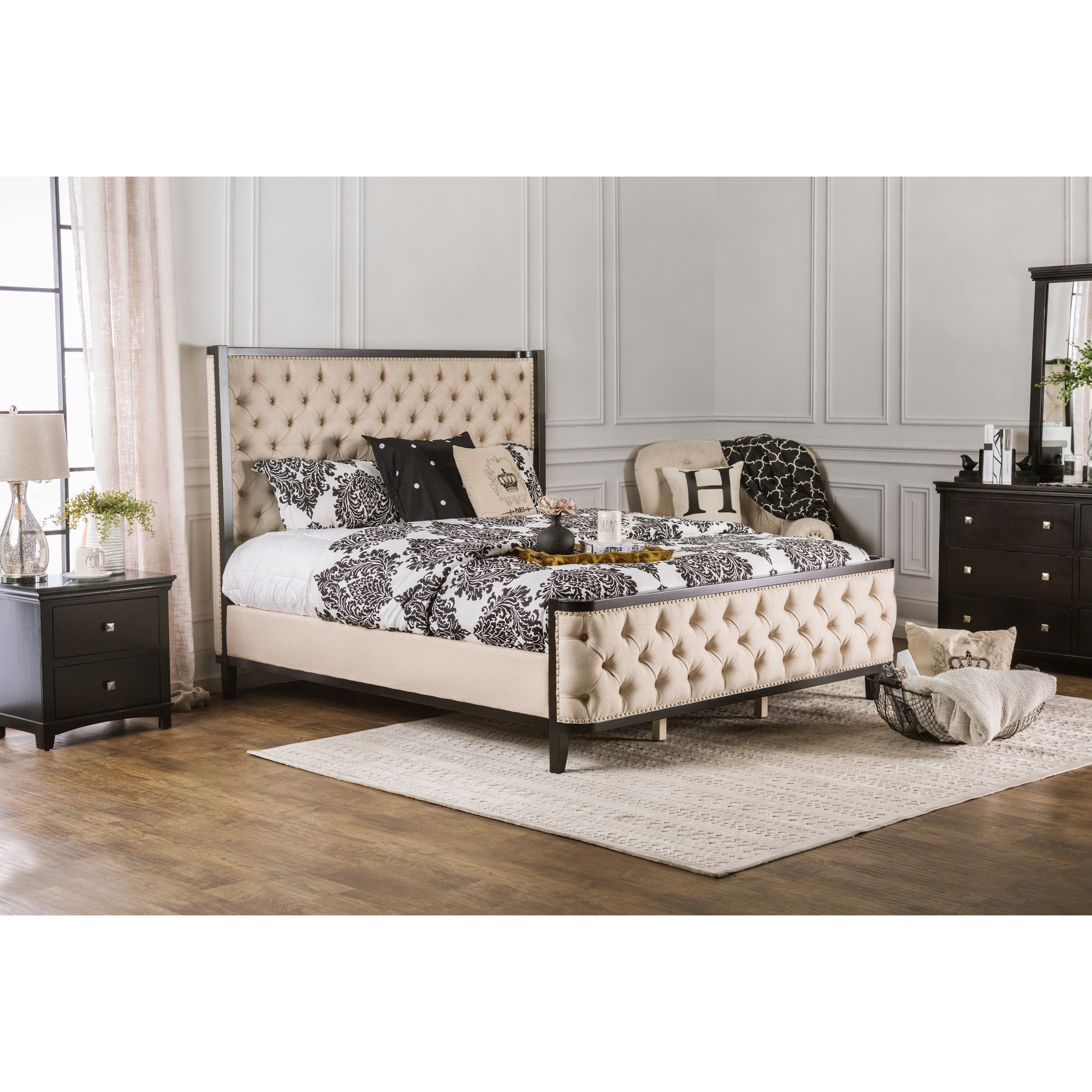furniture of america marisa elegant two tone wingback bed free