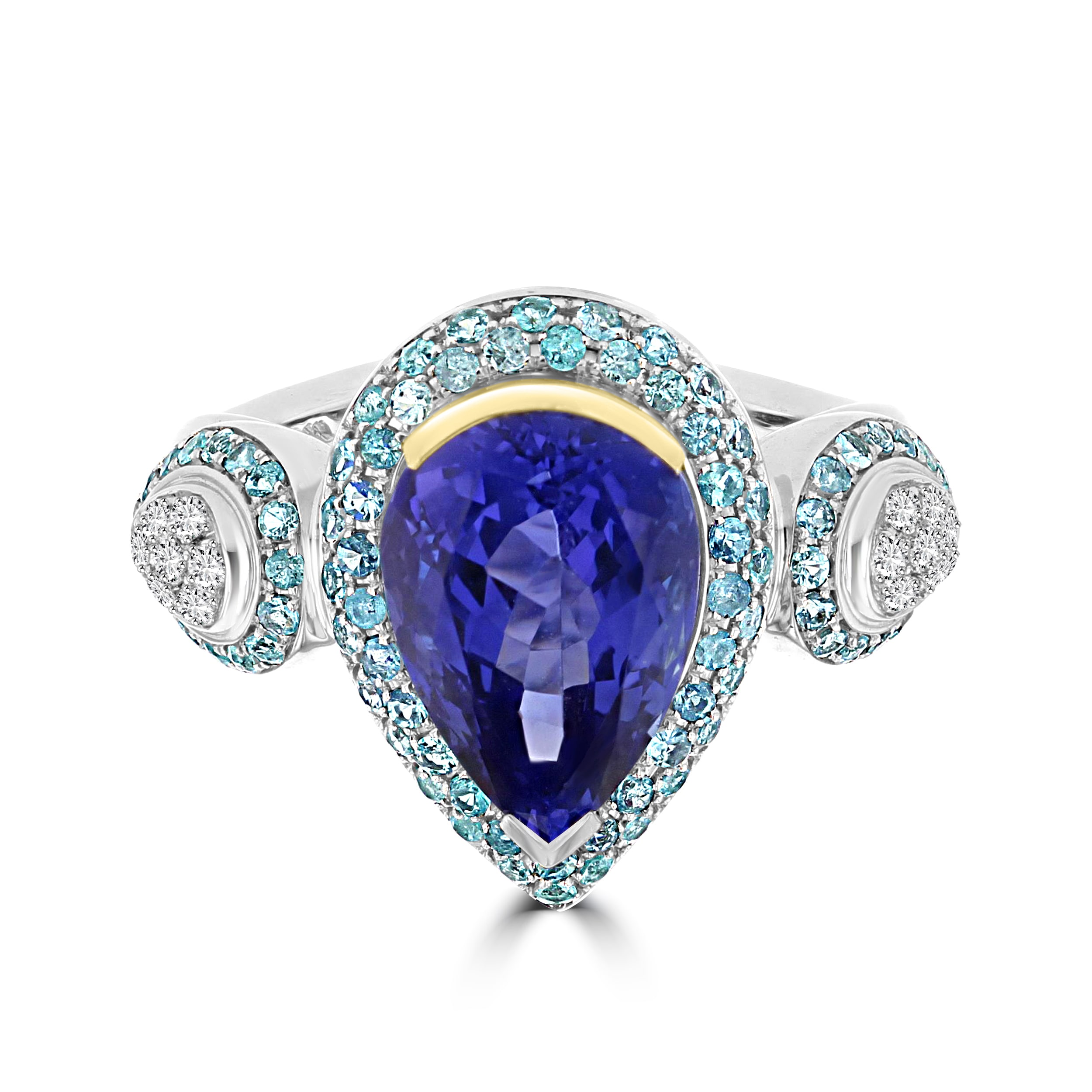 ring princess tanzanite round w carats grams cut with gold white tw l diamond t stone center