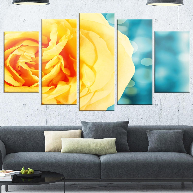 Designart \'Rose Flower with Lit-up Background\' Large Floral Glossy ...