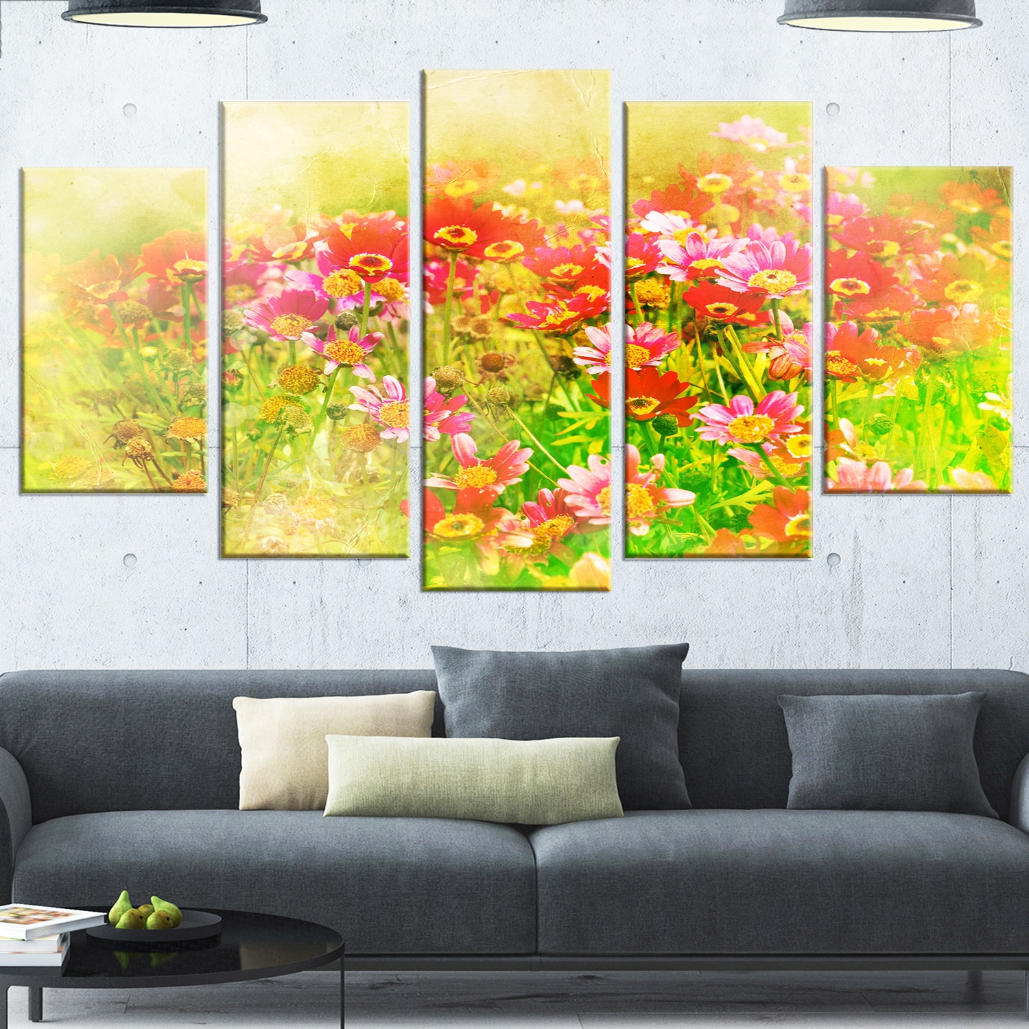 Shop Designart \'Colorful Spring Garden with Flowers\' Large Floral ...